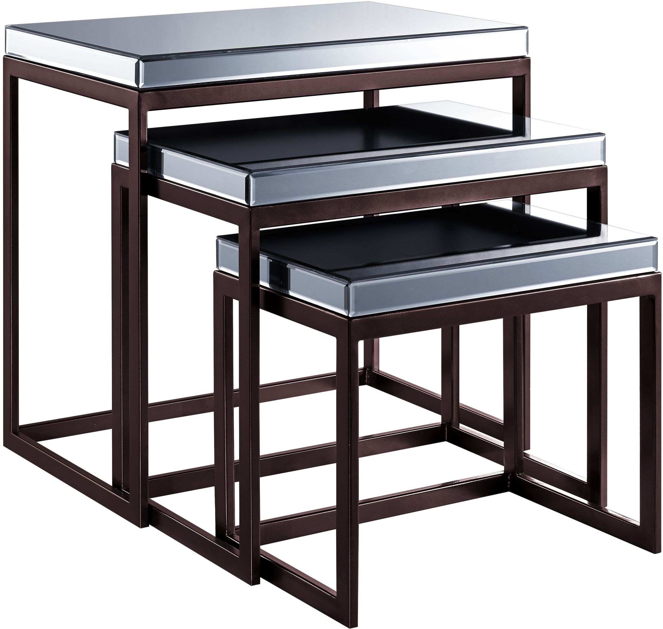 Smoked Mirrored Metal Base Nesting Tables From Pulaski Coleman Furniture