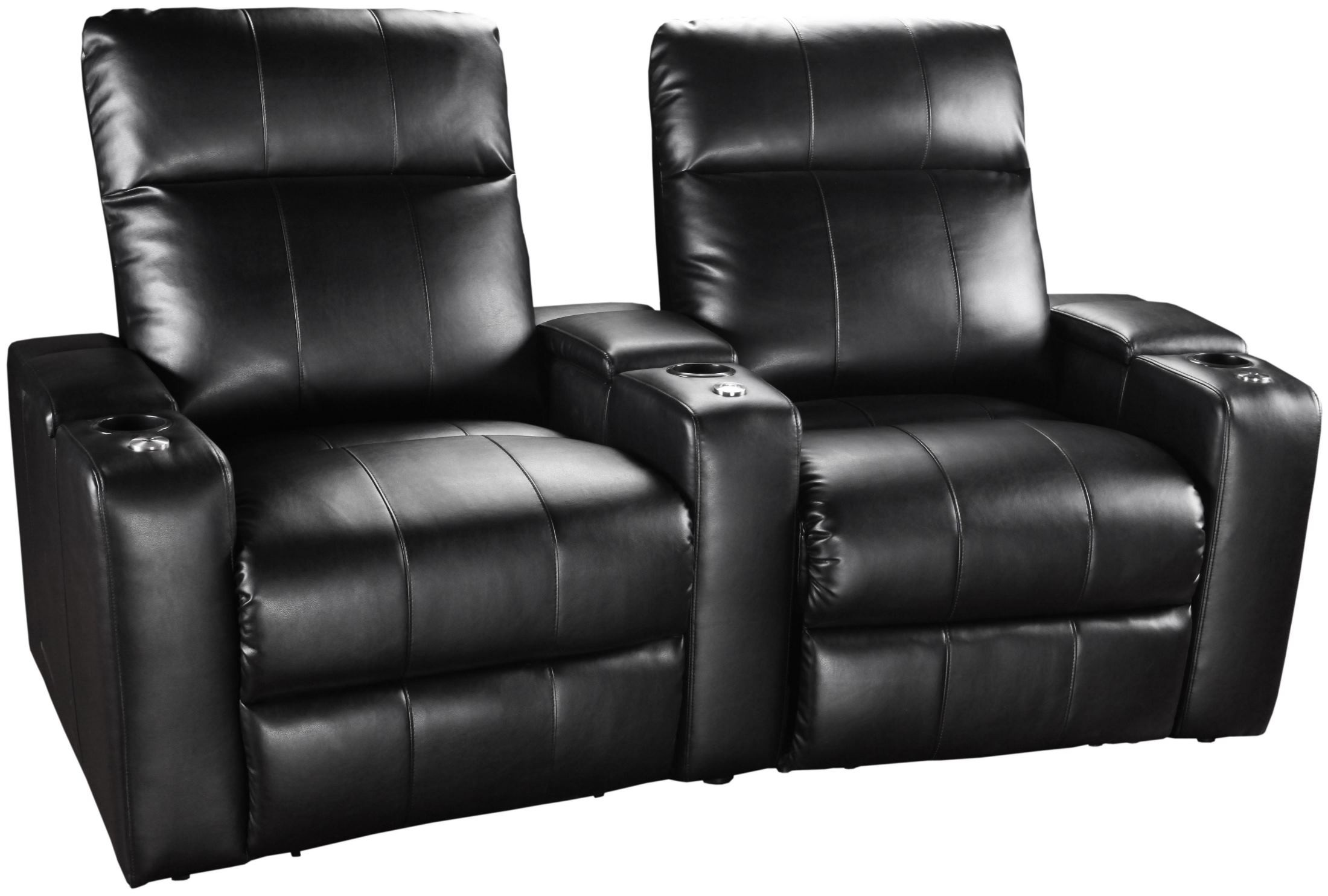Plaza Black Bonded Leather Power Reclining Curved 2 Seats Home Theater Seatin