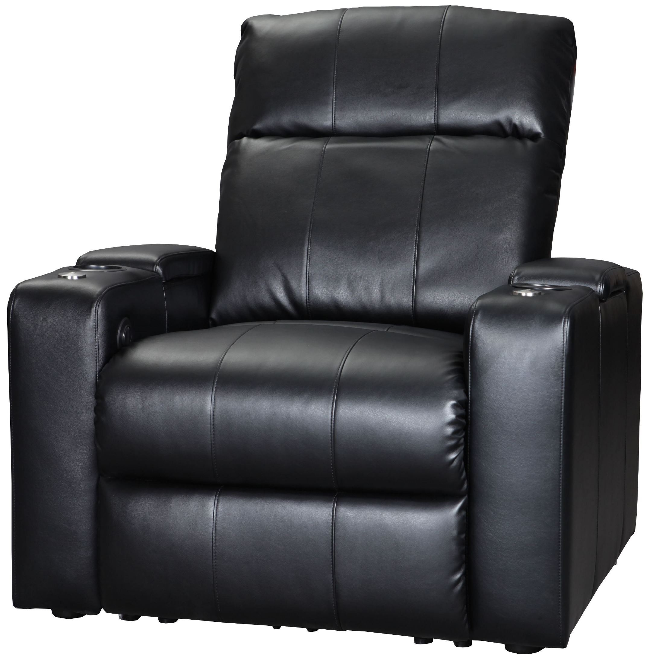 Plaza Black Bonded Leather 2 Arm Power Recliner from Row e