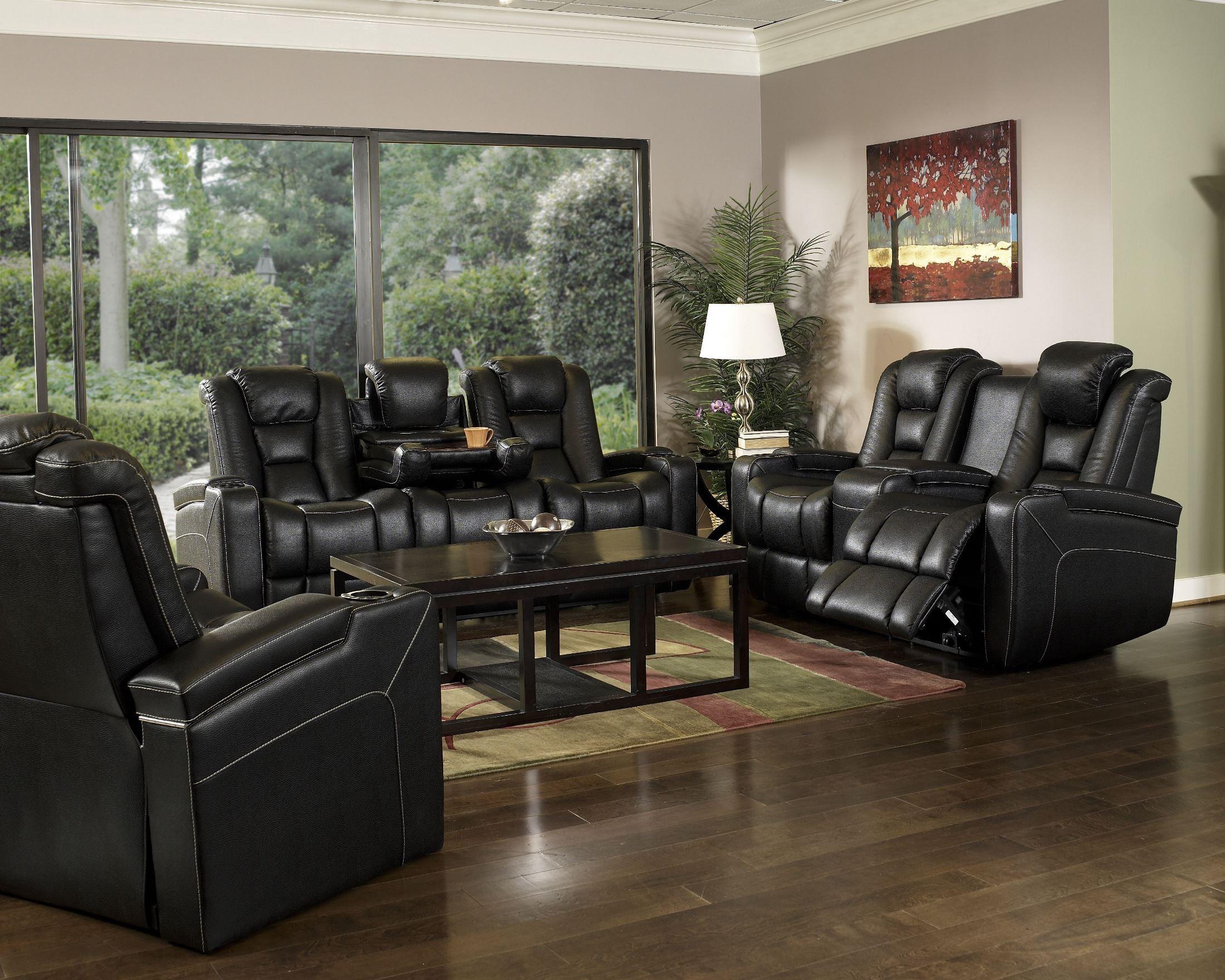 Evolution black leathaire fabric power reclining living - Fabric reclining living room sets ...
