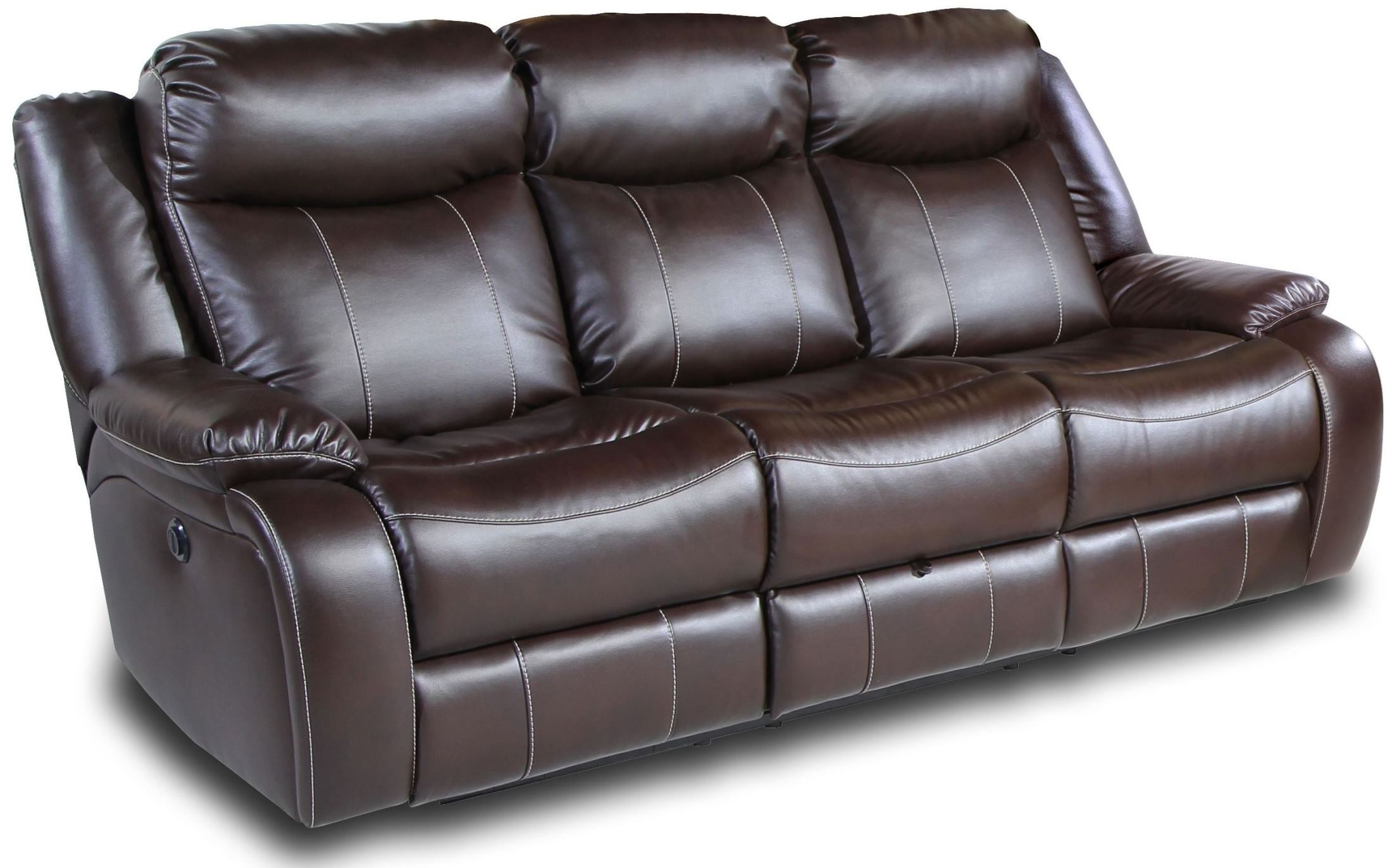 Genesis jamestown brown fabric power reclining sofa from for Brown fabric couch
