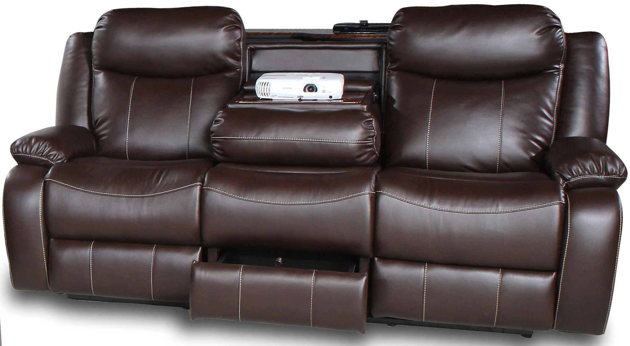 Genesis Jamestown Brown Fabric Power Reclining Sofa