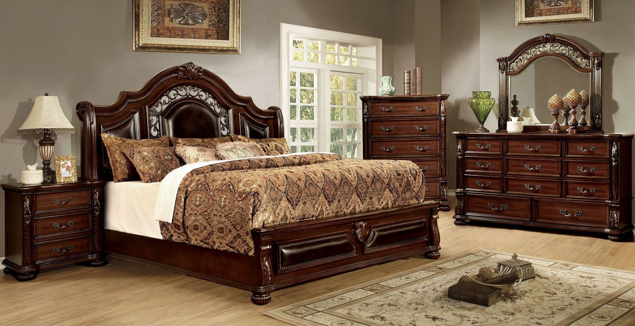 flandreau brown panel bedroom set from furniture of america coleman furniture