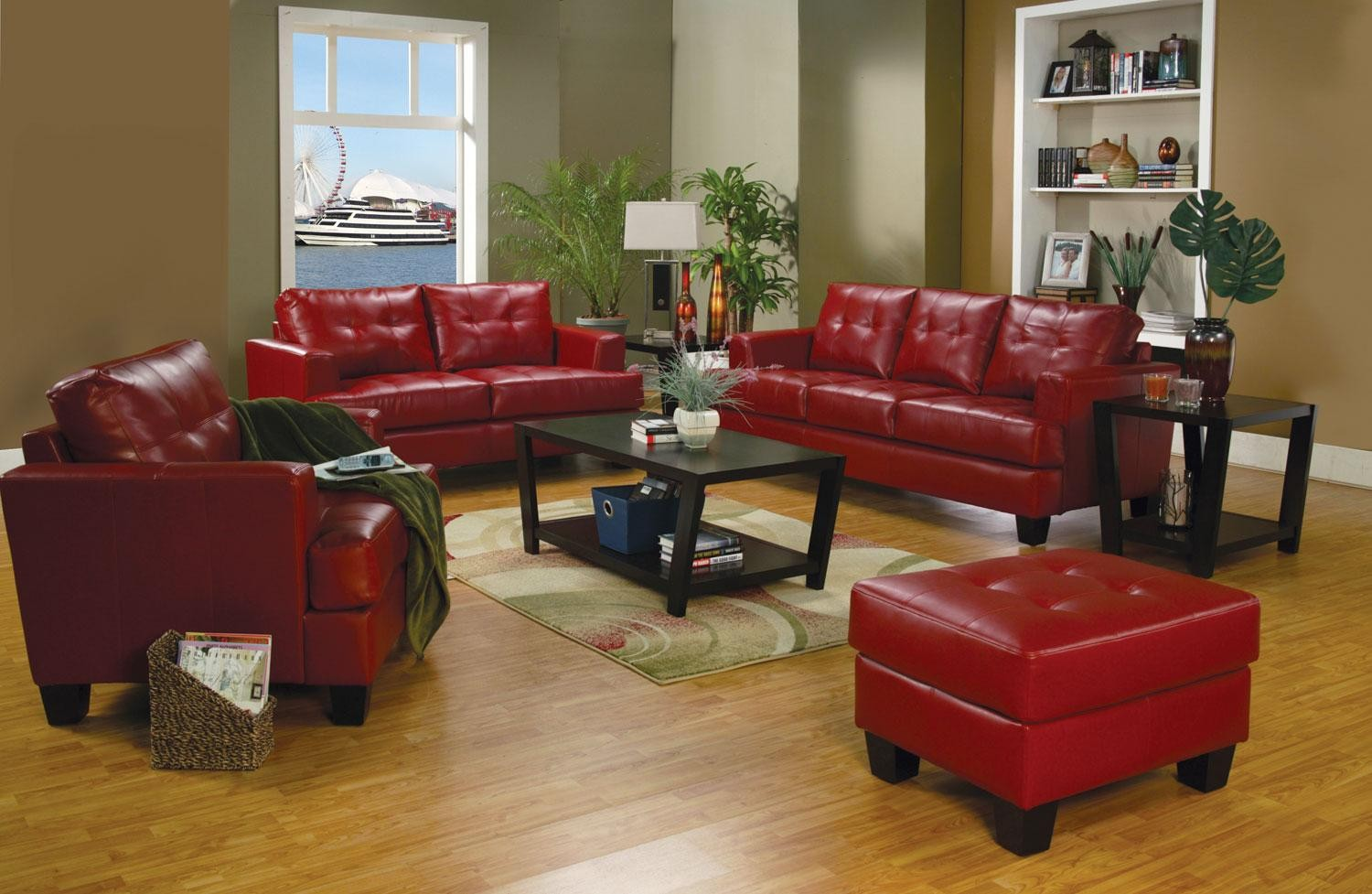Samuel red leather living room set 501831 from coaster for Black front room furniture