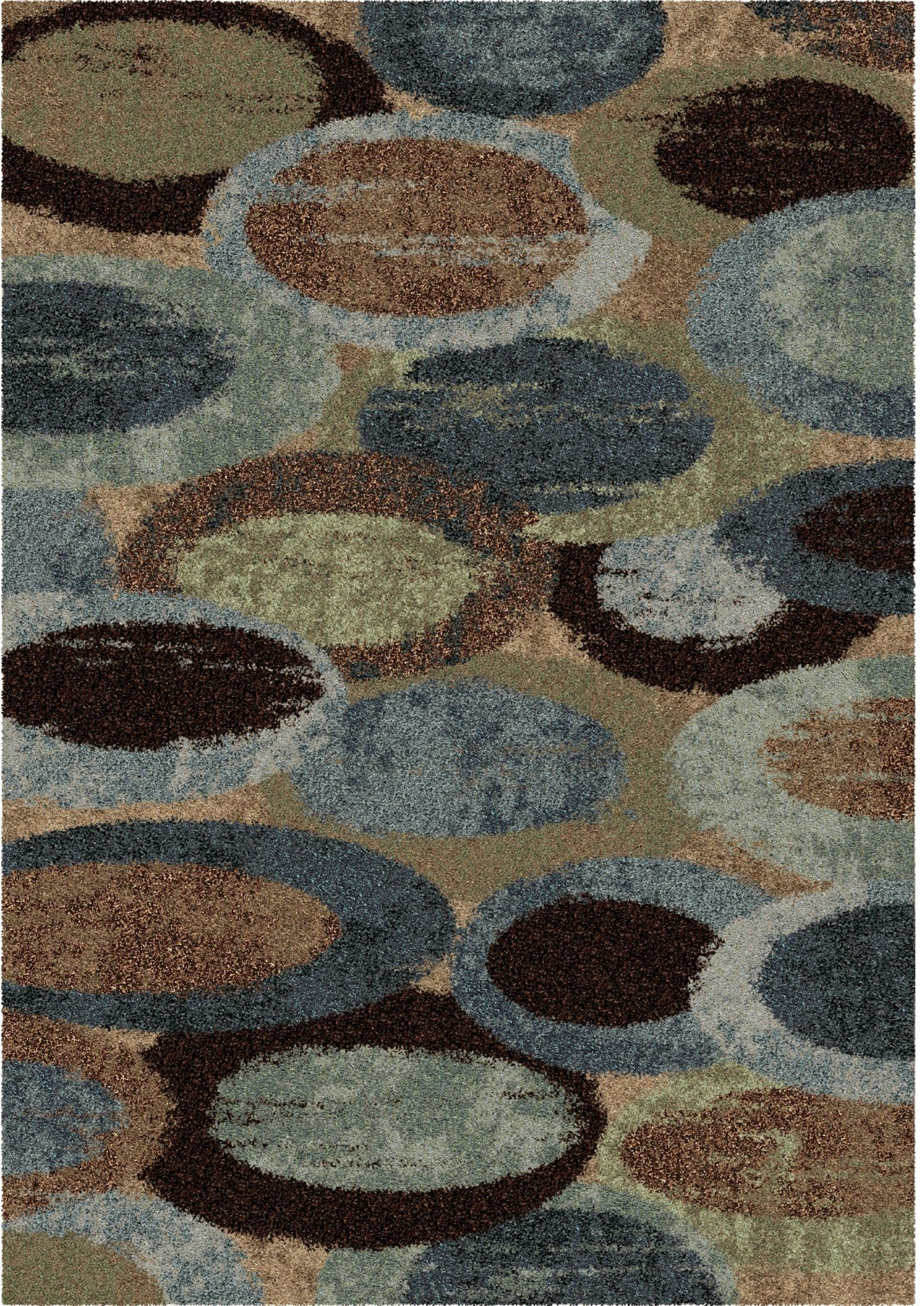Orian Rugs Plush Circles Pulpit Blue Area Large Rug, 3611