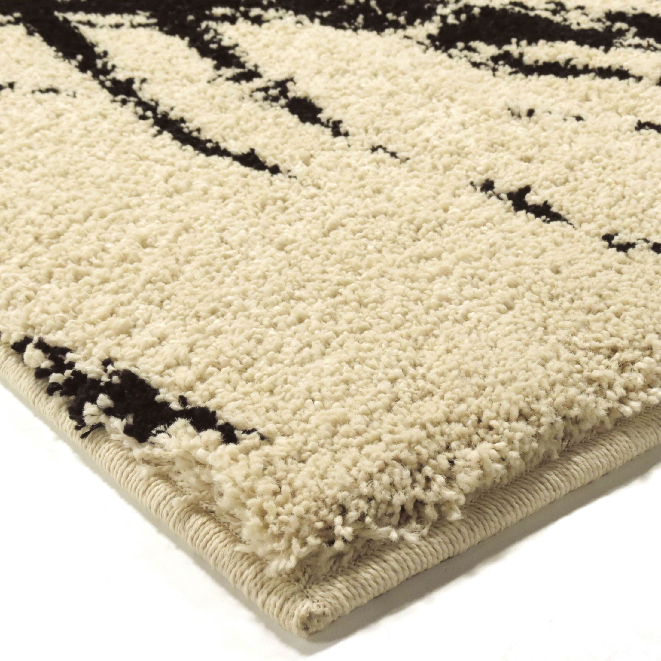 Discount 8x11 Area Rugs: Majestic Shag Plush Abstract Brushed Circles Ivory Large