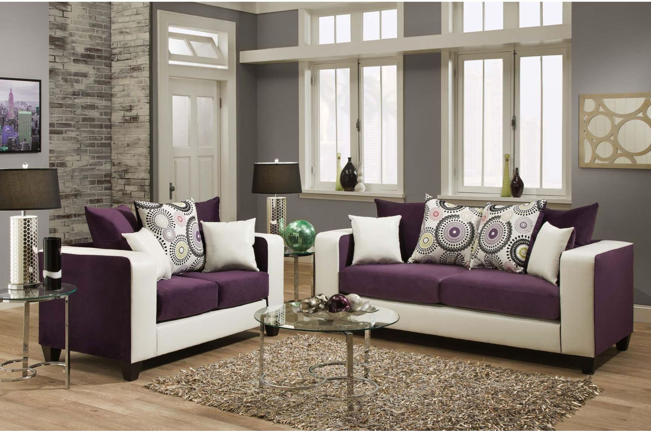 Riverstone Implosion Purple Velvet Living Room Set From