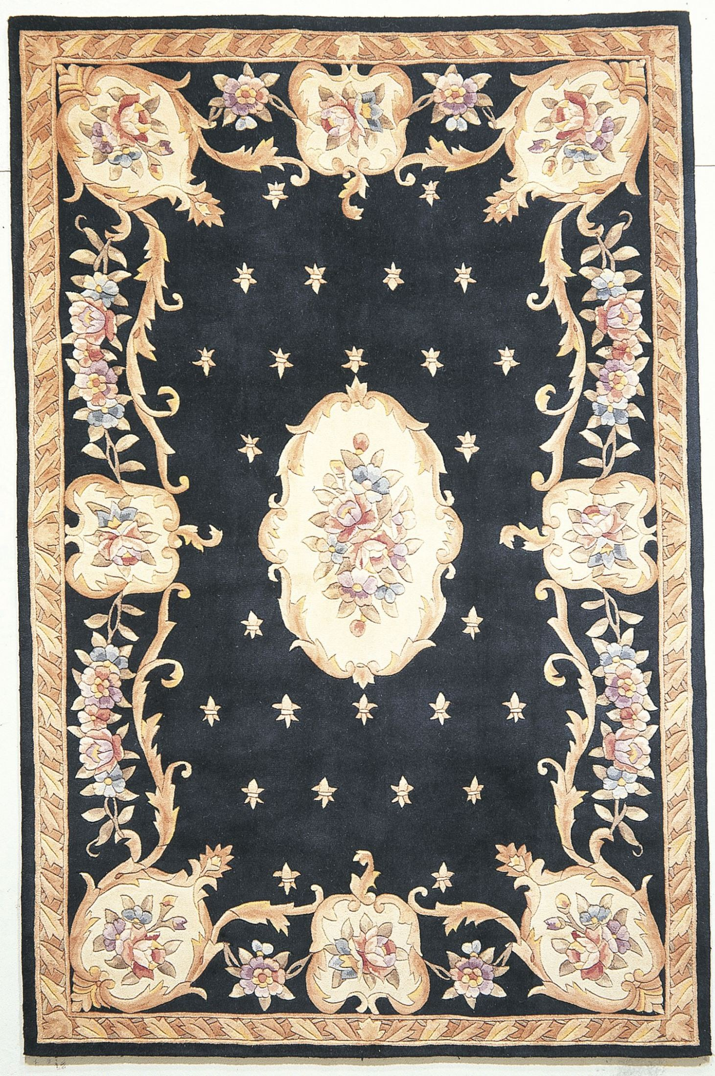Ruby Black Fleur De Lis Aubusson 50 Quot X 30 Quot Rug From Kas