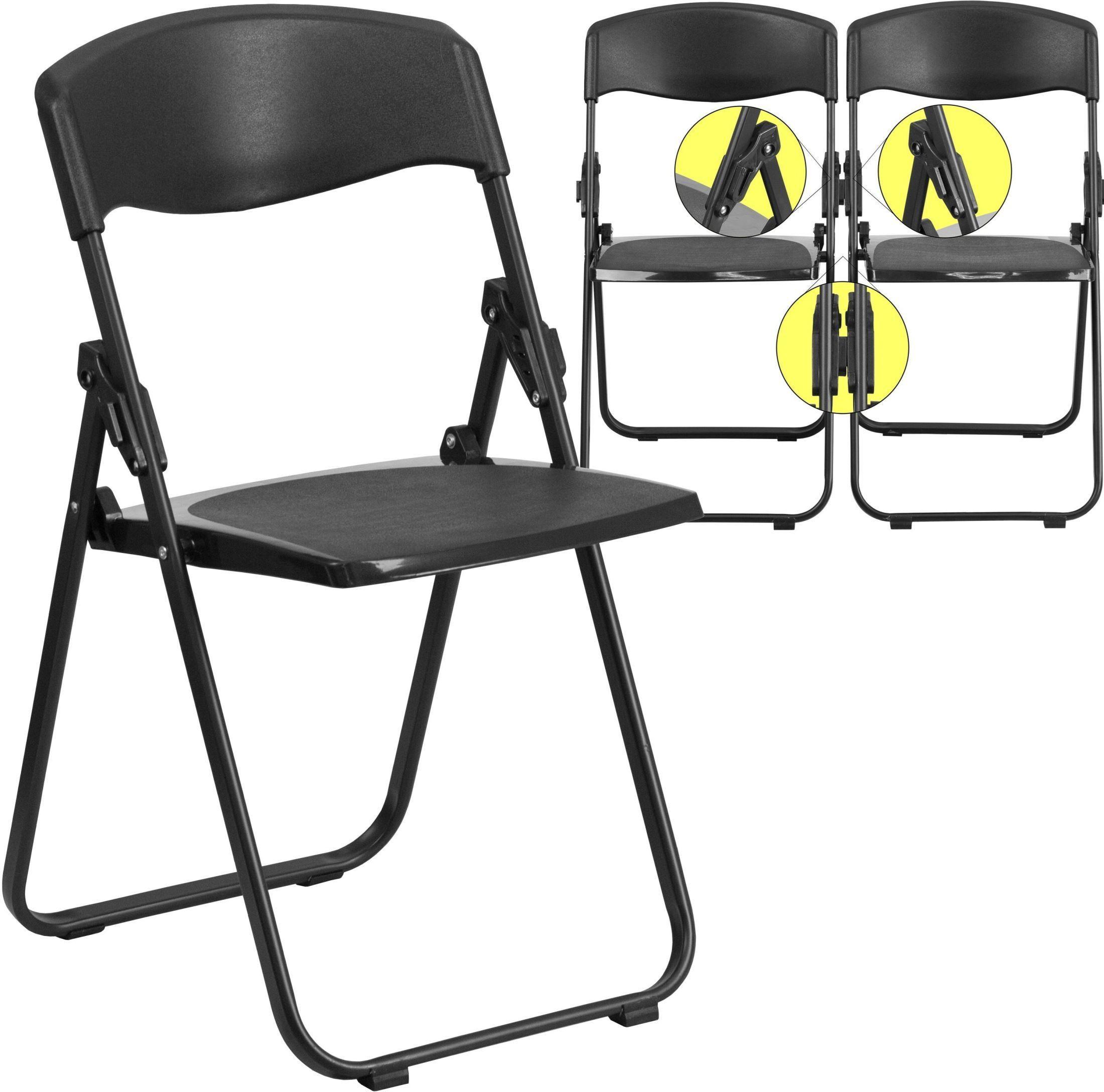 Hercules Series Heavy Duty Black Plastic Folding Chair