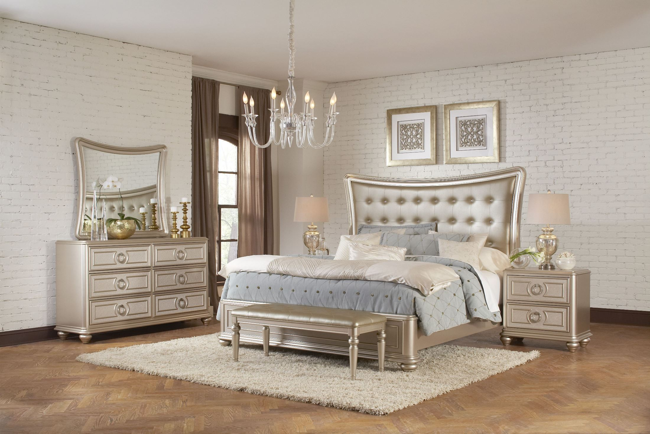 Dynasty Gold Metallic Upholstered Platform Bedroom Set From Samuel Lawrence  | Coleman Furniture