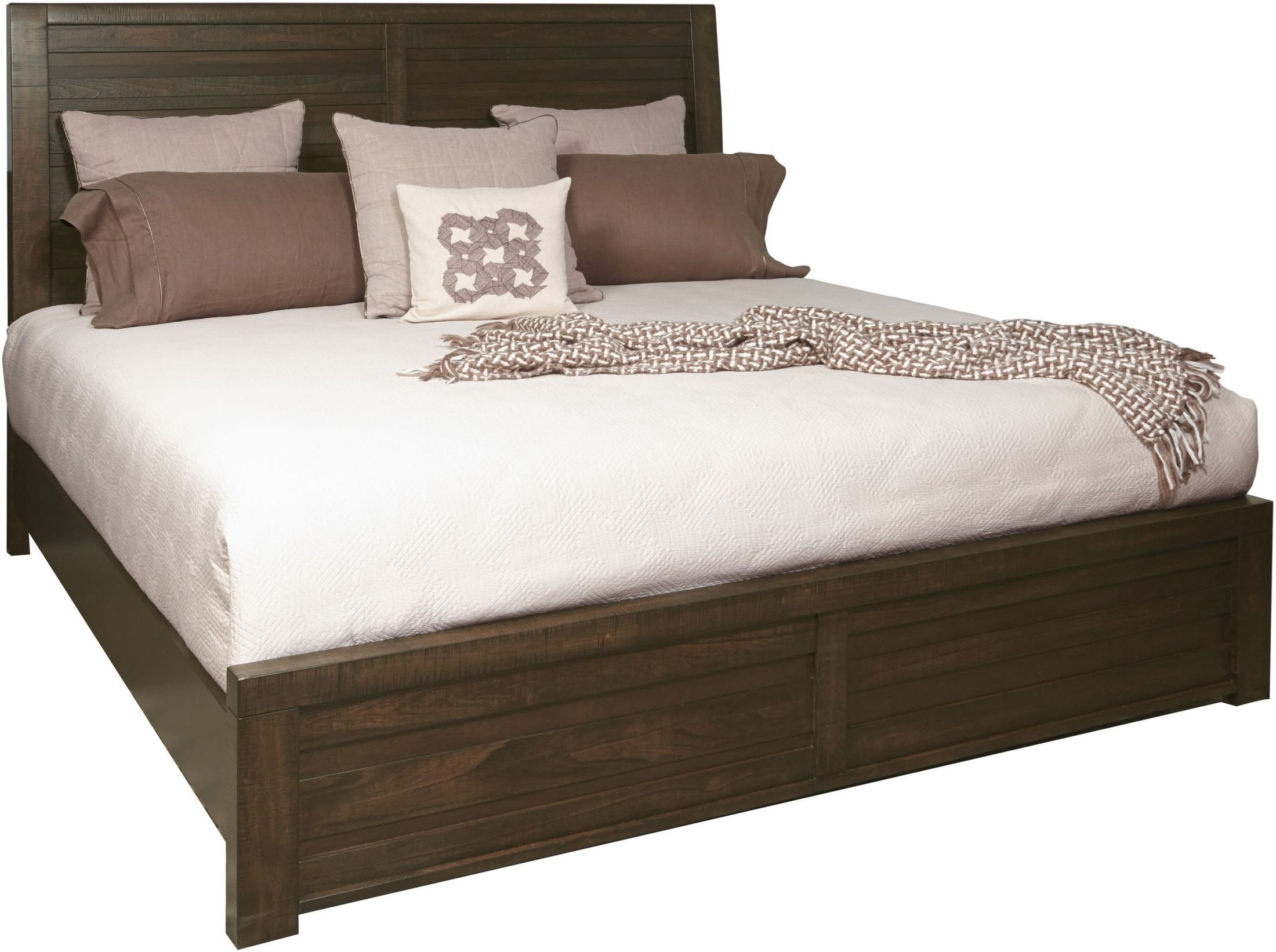 Ruff hewn brown king panel bed from samuel lawrence for Panel beds for sale