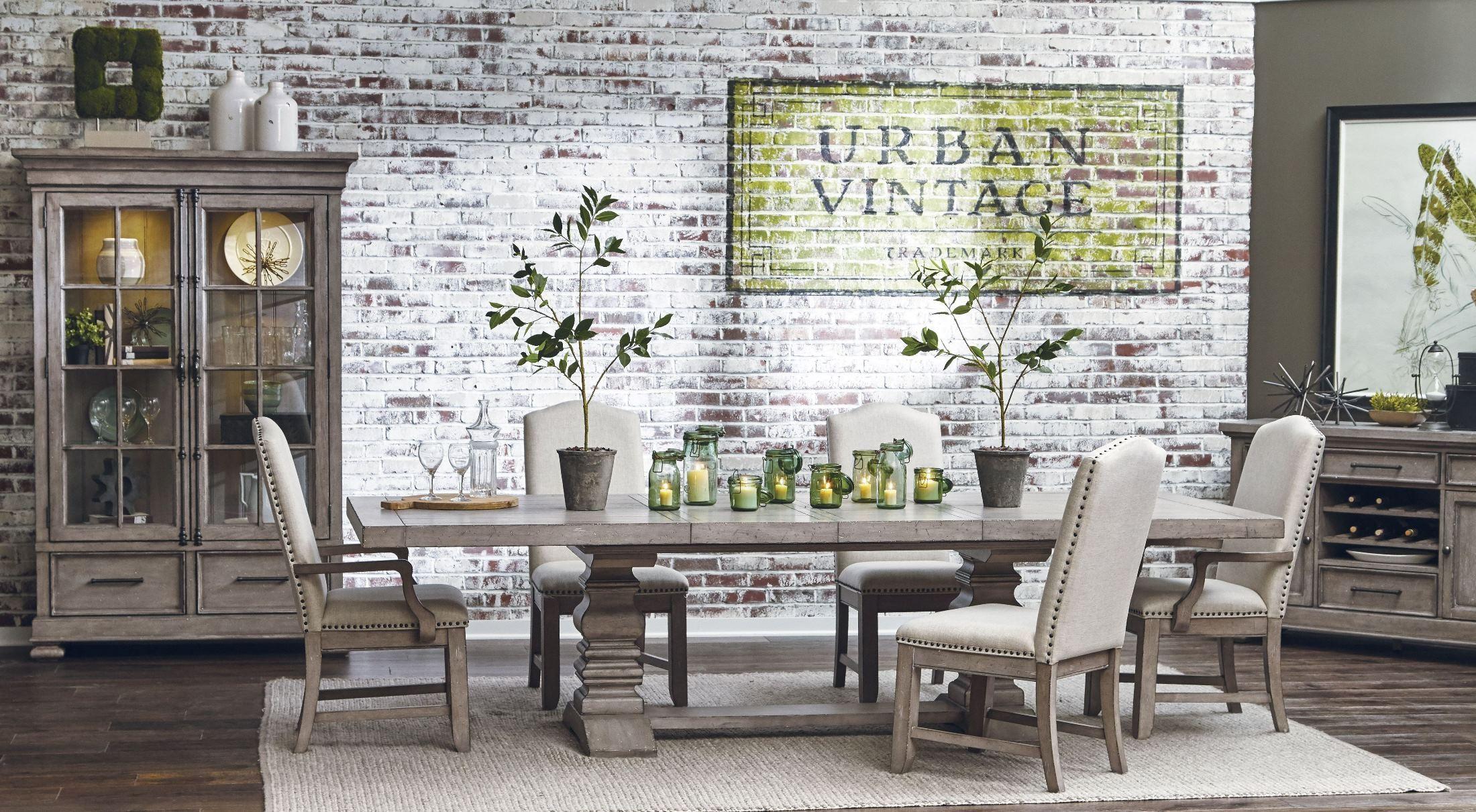 Prospect Hill Gray Rectangular Extendable Pedestal Dining Table