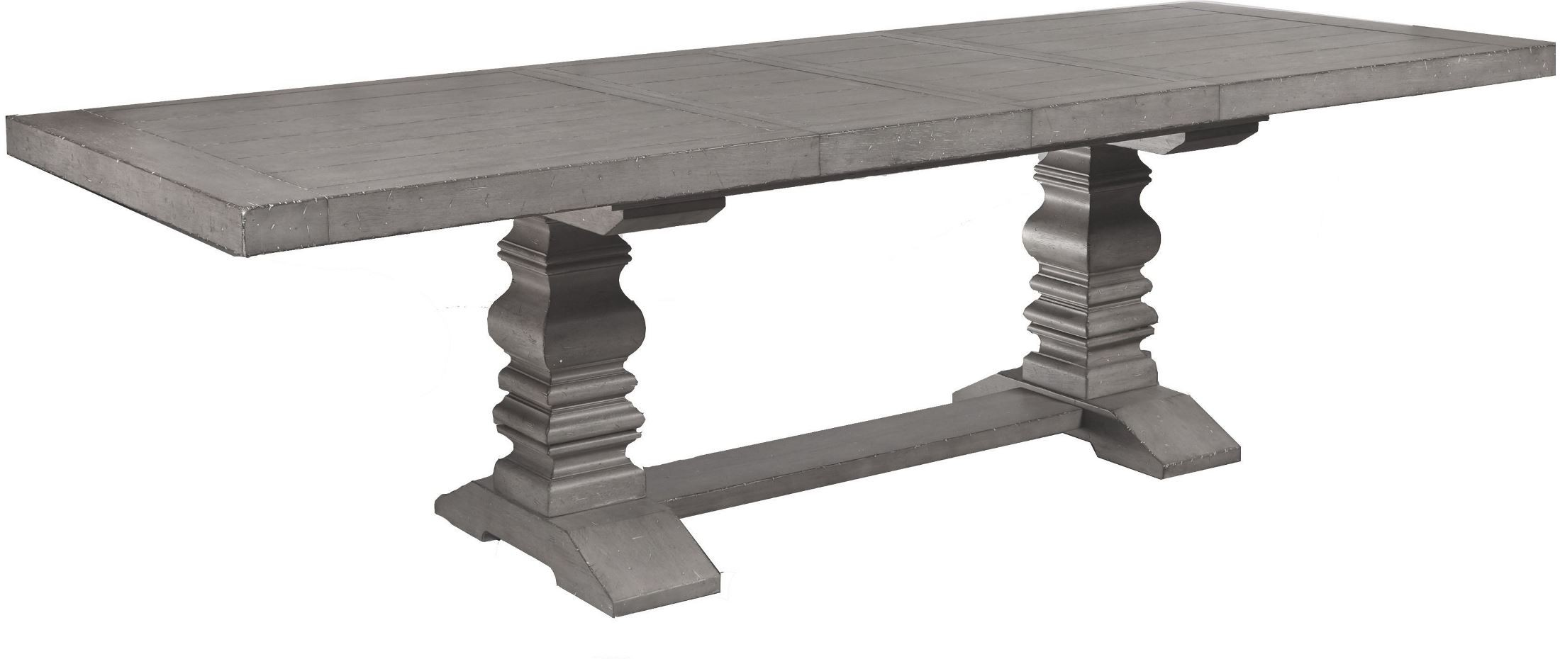 Prospect Hill Gray Rectangular Extendable Pedestal Dining Table ...