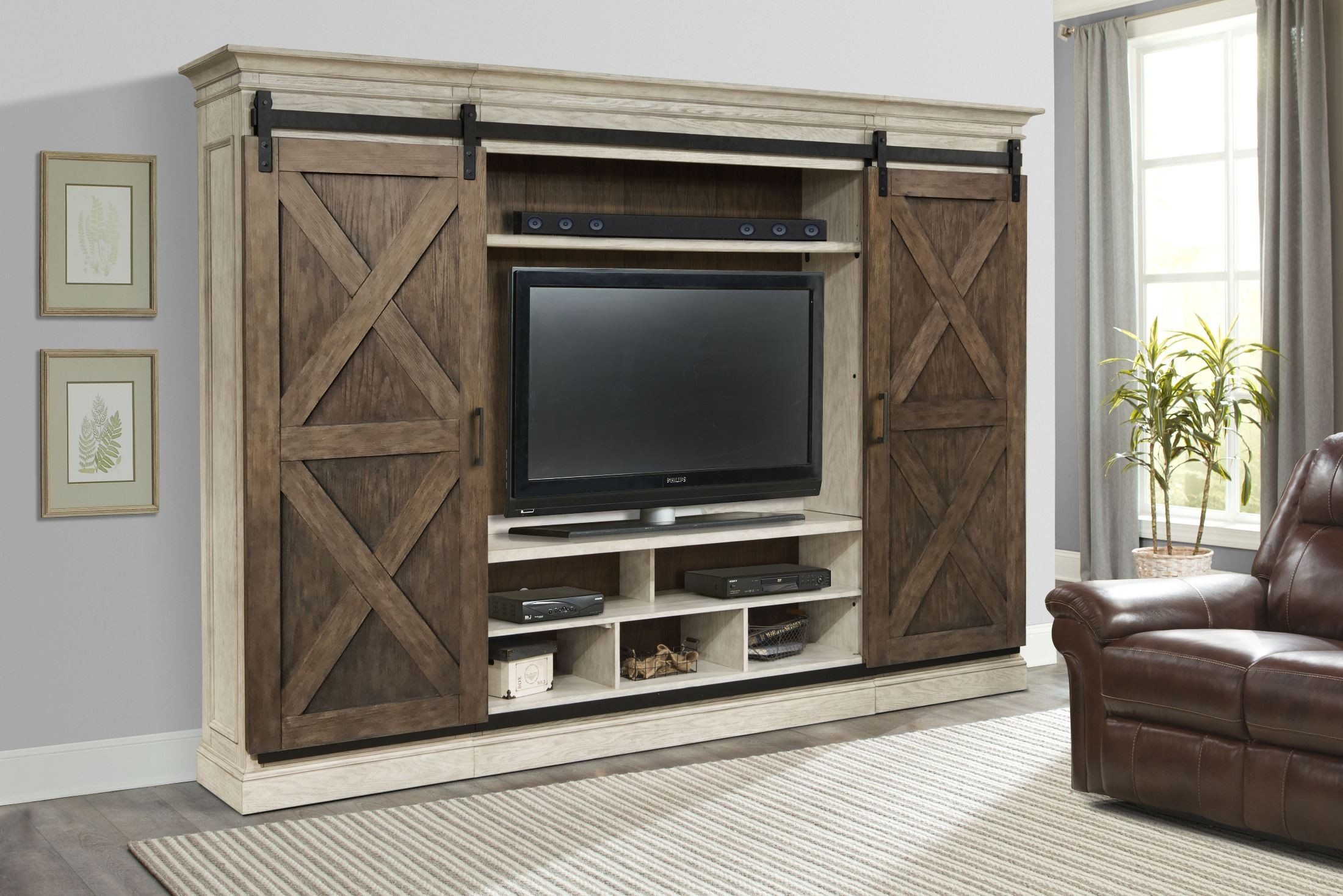 barn door entertainment center Savannah 5 Piece Sliding X Barn Door Entertainment Wall Unit from  barn door entertainment center