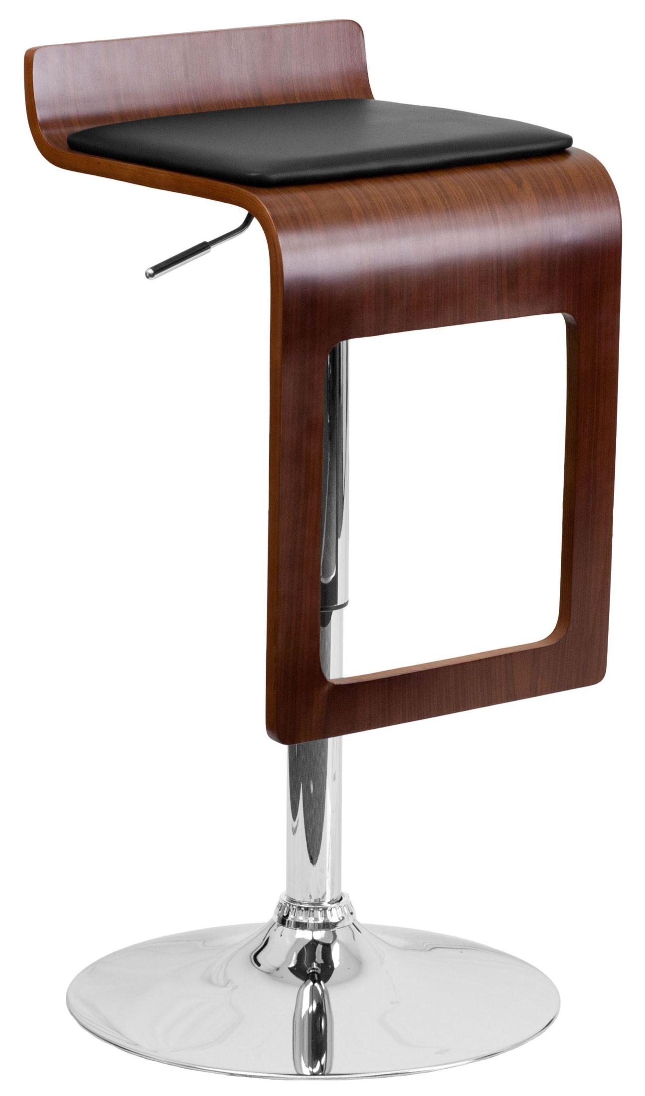 Walnut Bentwood Adjustable Black Bar Stool With Drop Frame