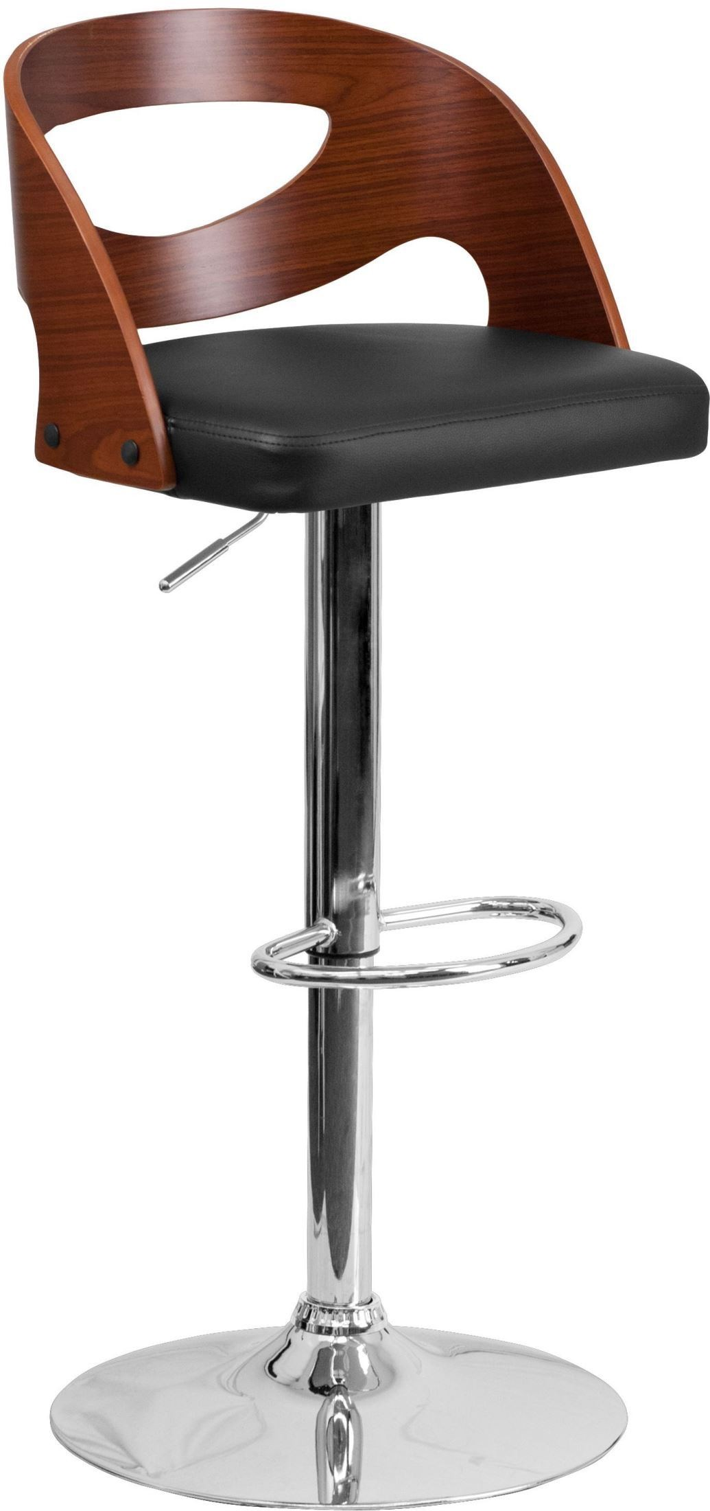 32381 Walnut Bentwood Adjustable Height Bar Stool From