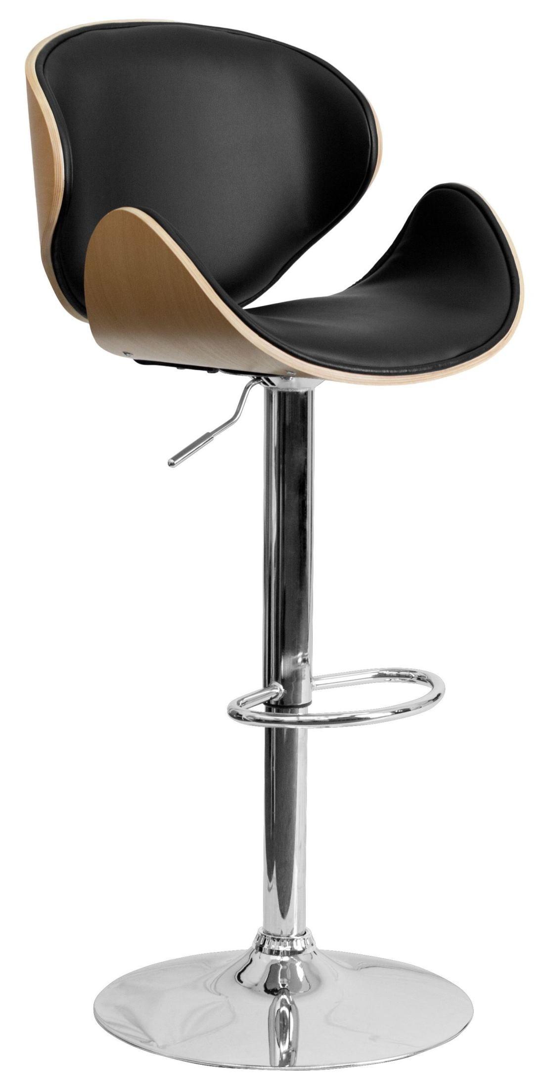 Bentwood Adjustable Height Curved Black Vinyl Bar Stool