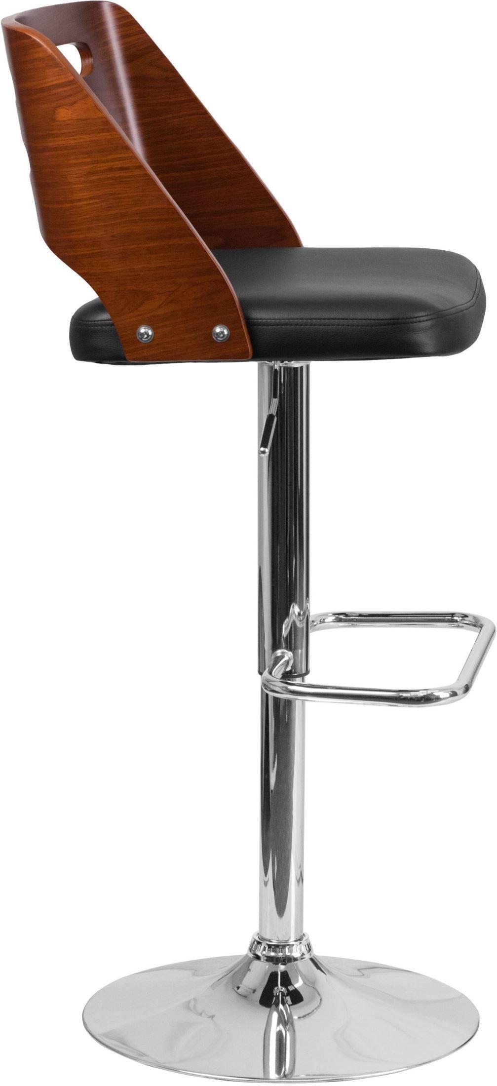 32382 Walnut Bentwood Adjustable Height Bar Stool From