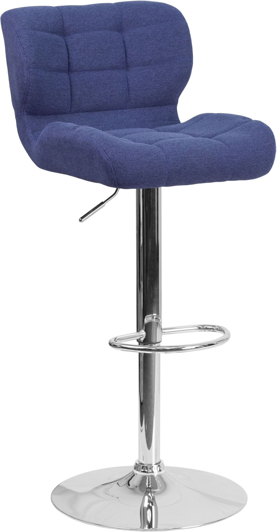 Contemporary Tufted Blue Fabric Adjustable Height Bar