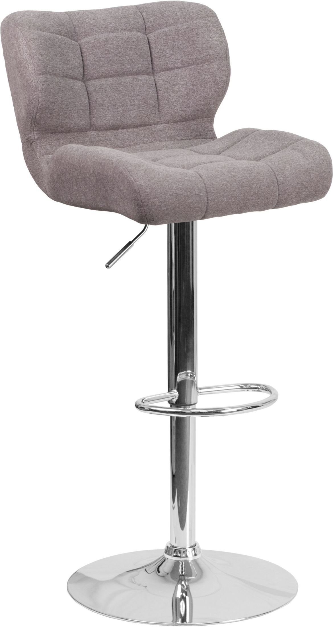 Contemporary Tufted Gray Fabric Adjustable Height Bar