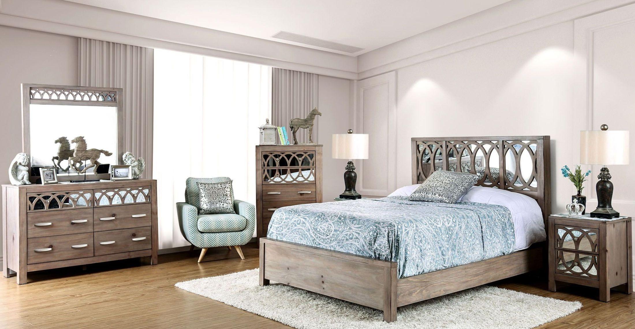 Zaragoza rustic natural tone panel bedroom set from