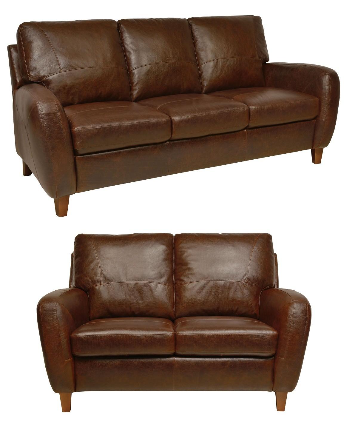 Living Room Furniture: Jennifer Antique Tan Italian Leather Living Room Set From