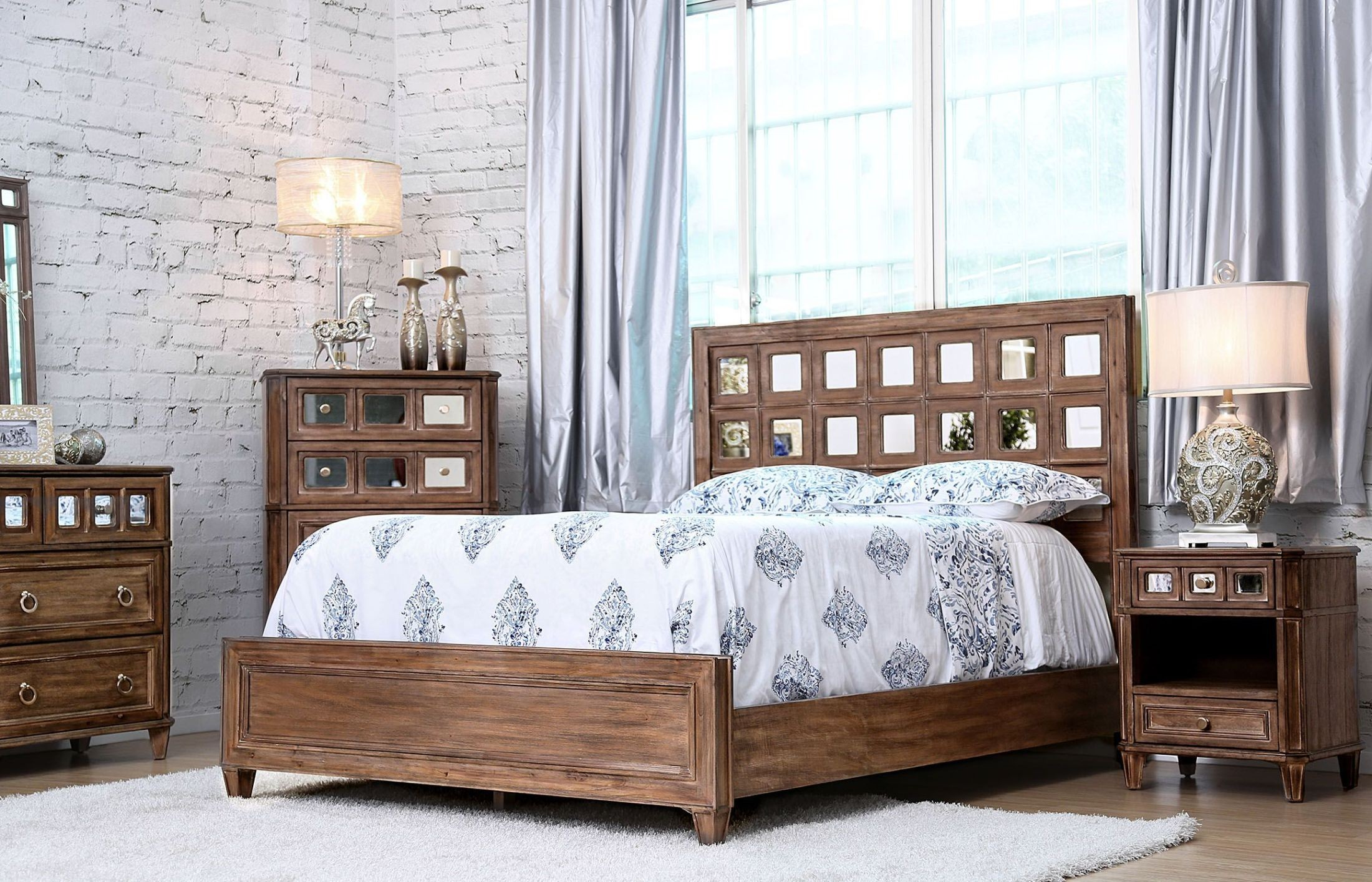 Frontera Rustic Oak Panel Bedroom Set From Furniture Of America Coleman Furniture