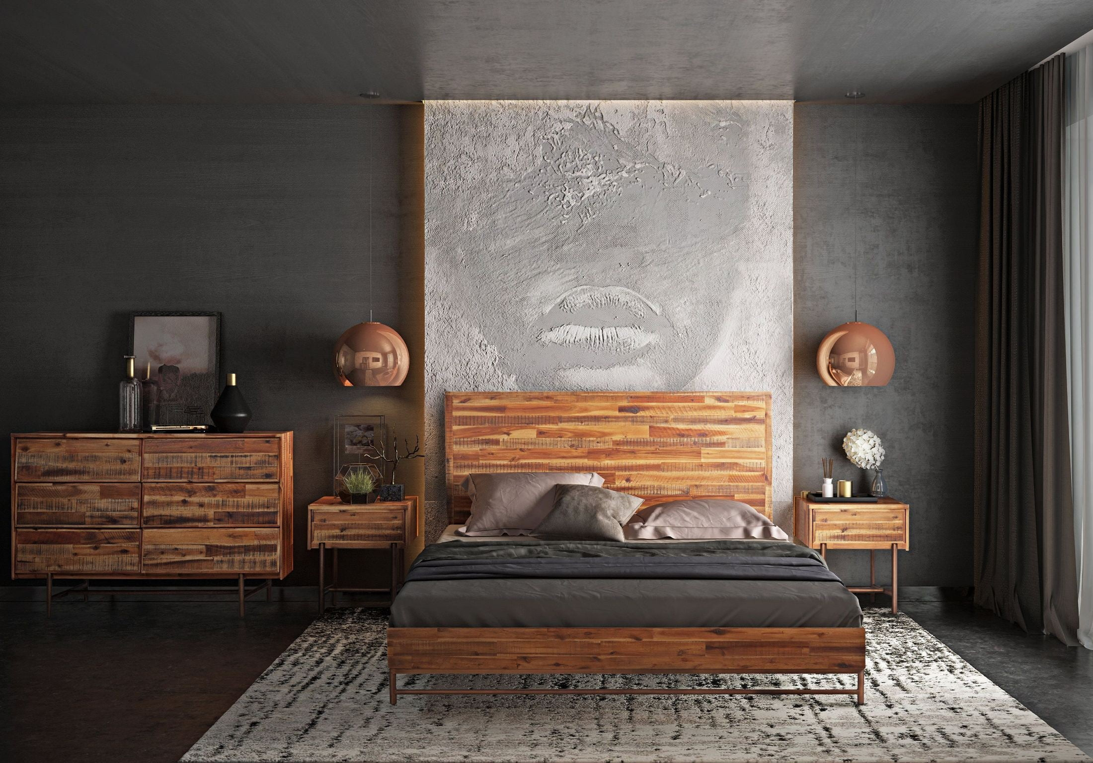 Bushwick Wooden Platform Bedroom Set