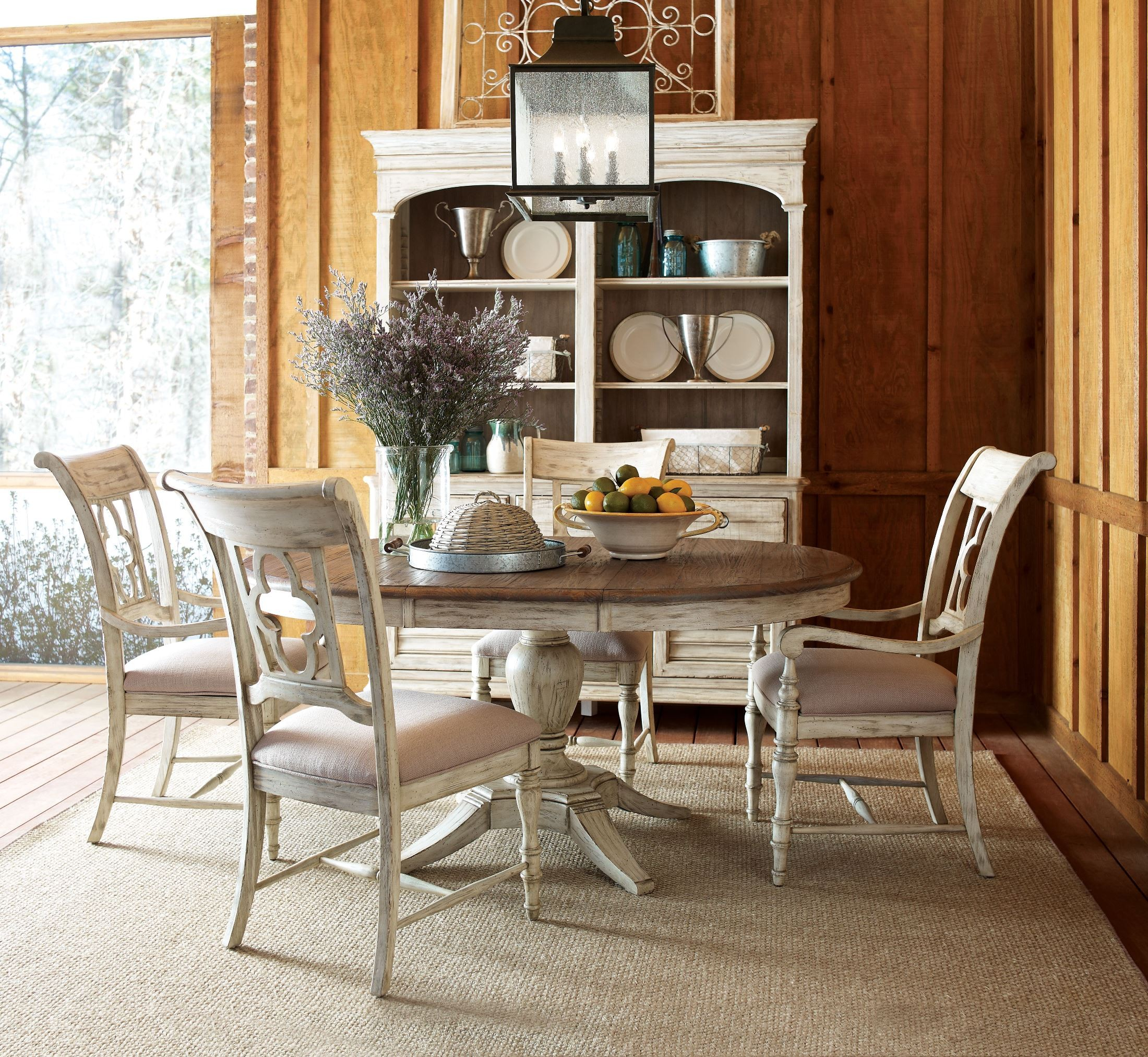 Formal Dining Room Sets For Sale: Weatherford Cornsilk Milford Extendable Round Dining Table