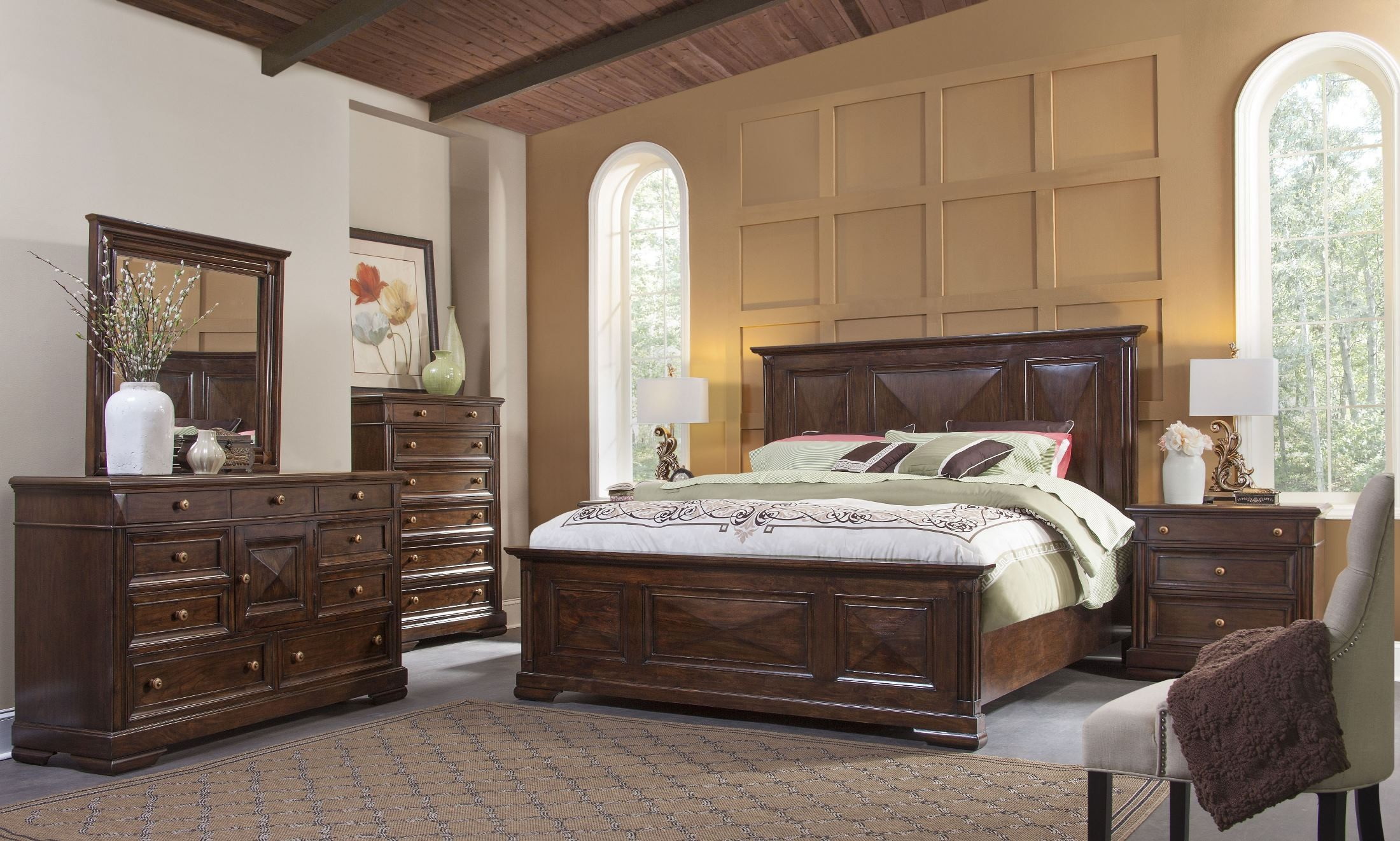 Tuscaloosa chocolate brown panel bedroom set from american woodcrafters coleman furniture American home furniture bedroom sets