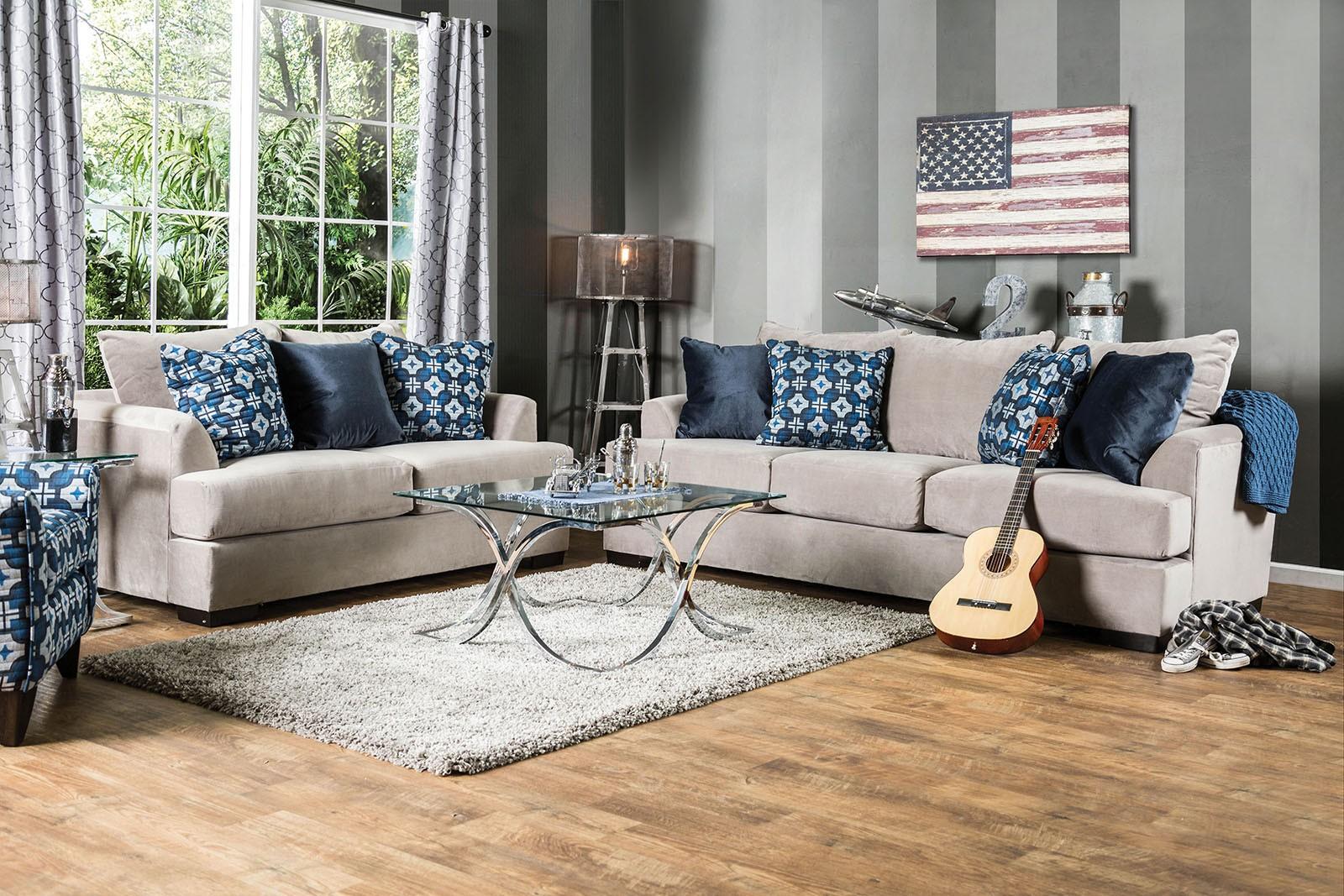 navan beige velvet living room set sm1222 sf furniture of america. Black Bedroom Furniture Sets. Home Design Ideas