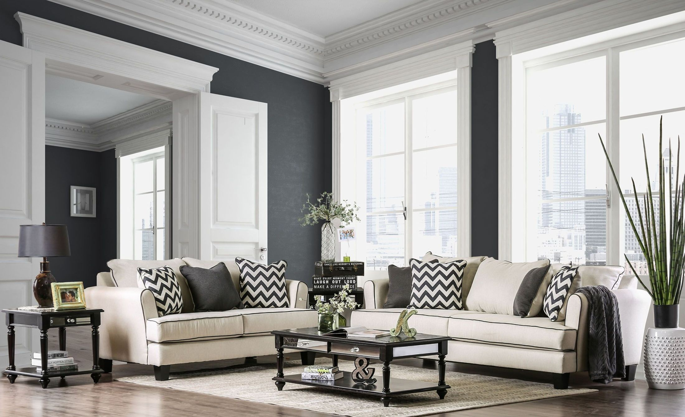 Percey off white living room set from furniture of america Pictures of white living rooms