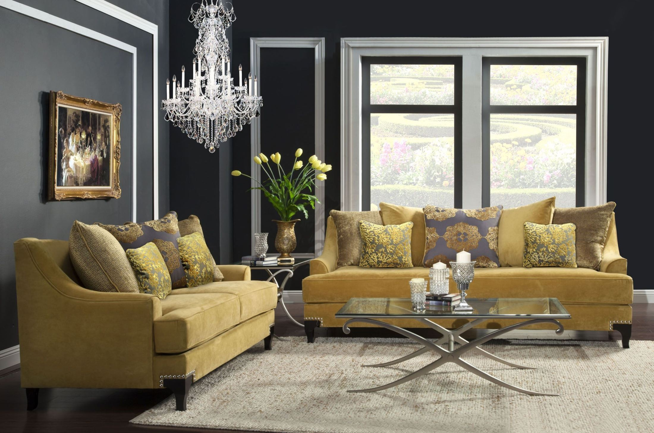 Viscontti gold living room set from furniture of america Furniture for yellow living rooms