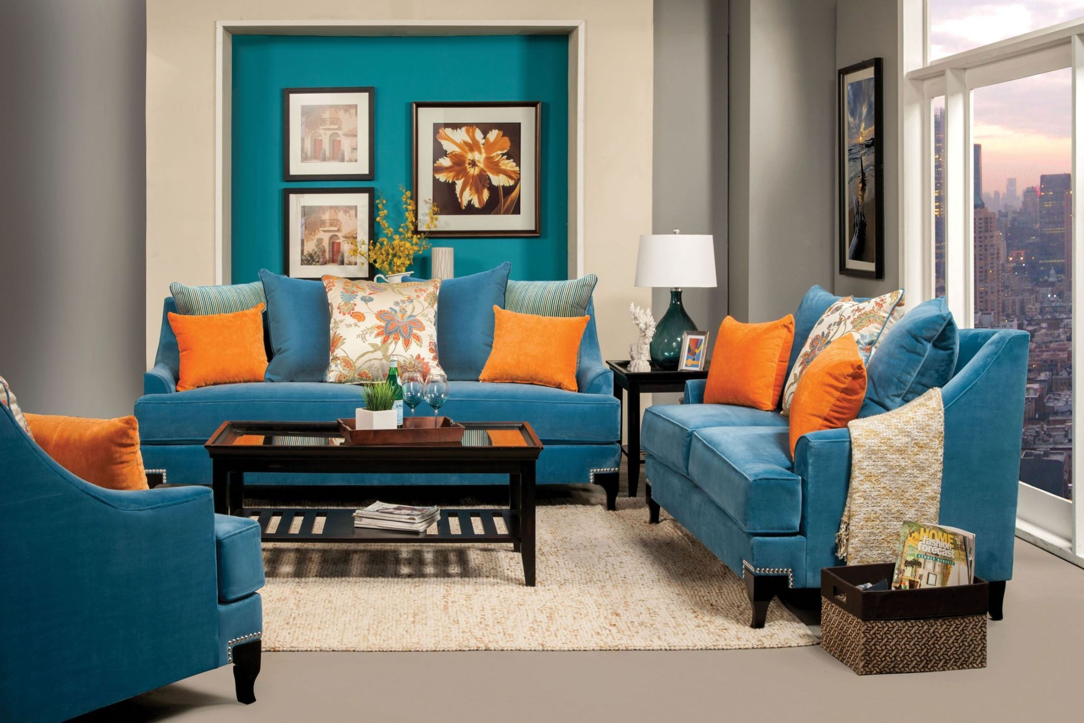 Vincenzo peacock blue living room set from furniture of for Blue living room chairs