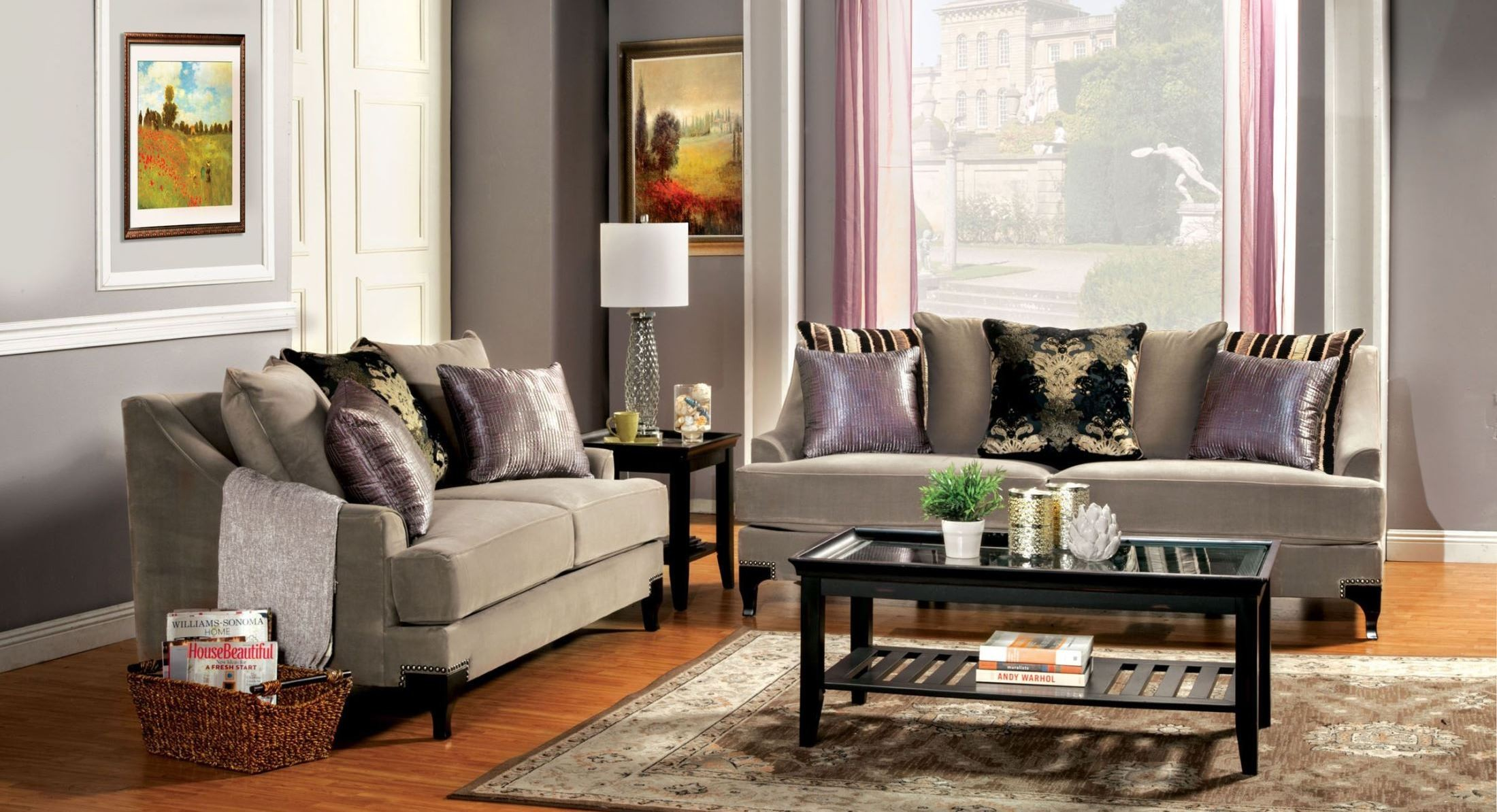 Vittoria cocoa brown living room set from furniture of for Sm living room furnitures