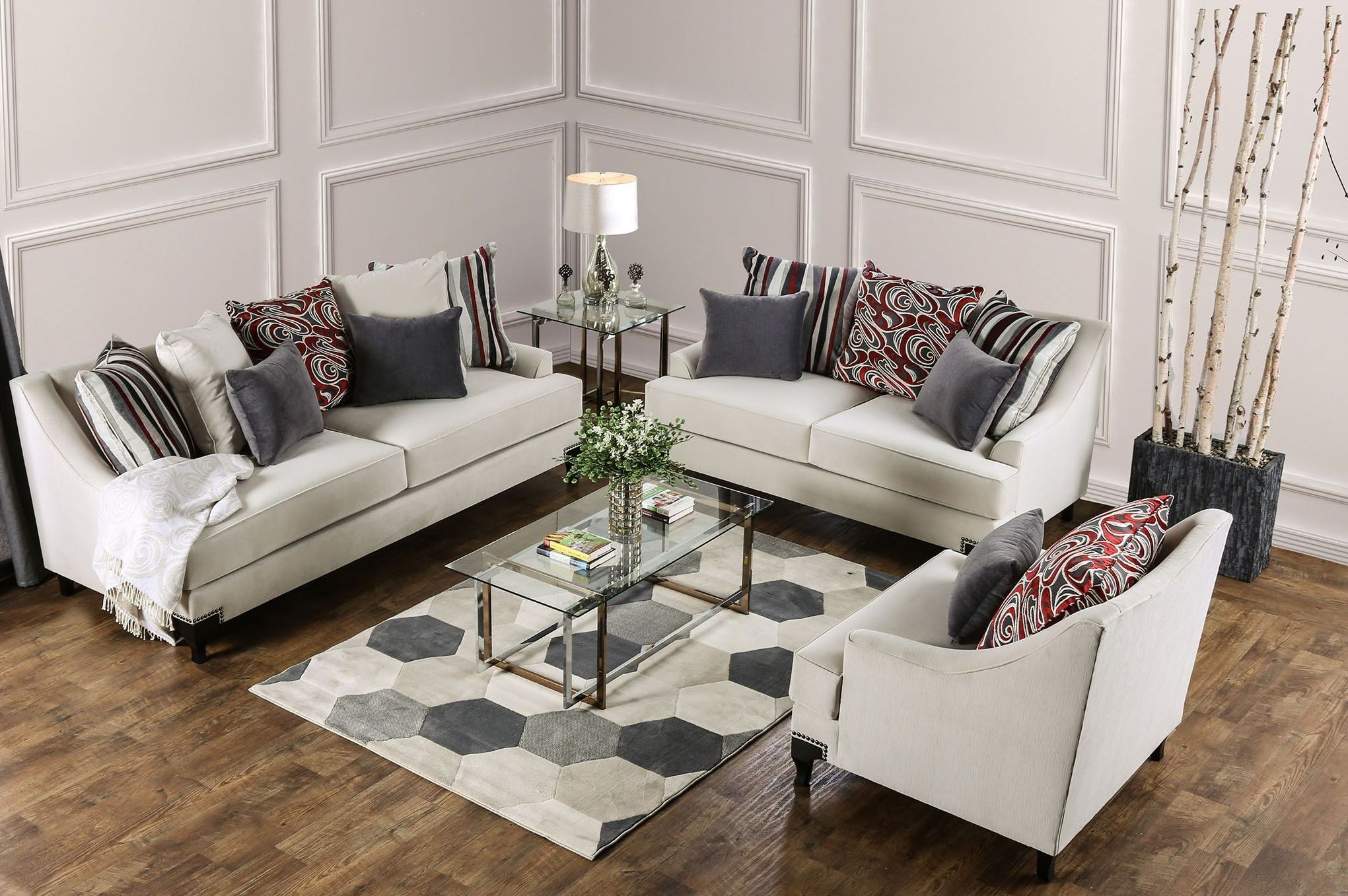 viscontti ivory upholstered living room set from furniture of america coleman furniture. Black Bedroom Furniture Sets. Home Design Ideas
