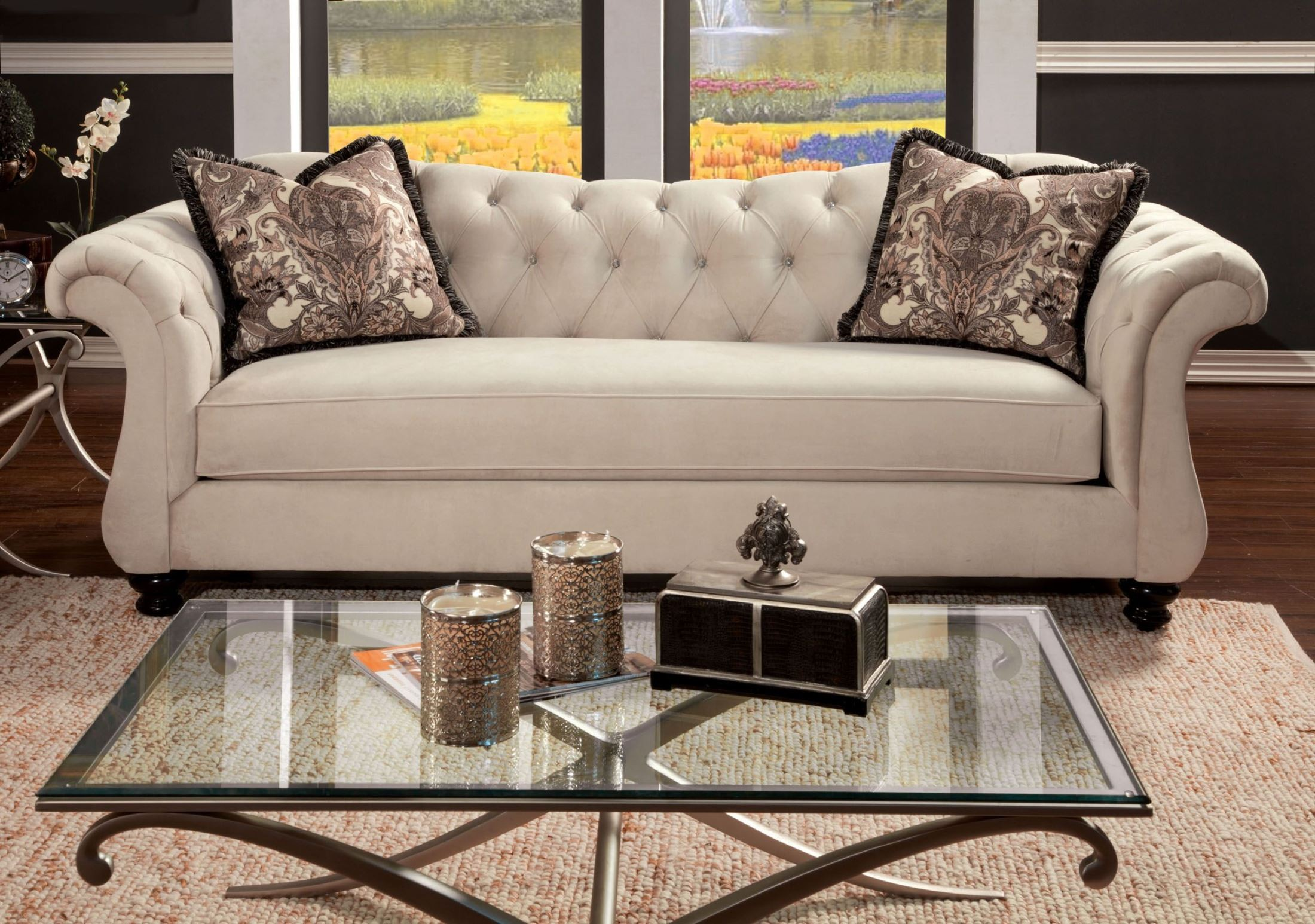 Antoinette beige premium fabric sofa from furniture of for Furniture of america furniture