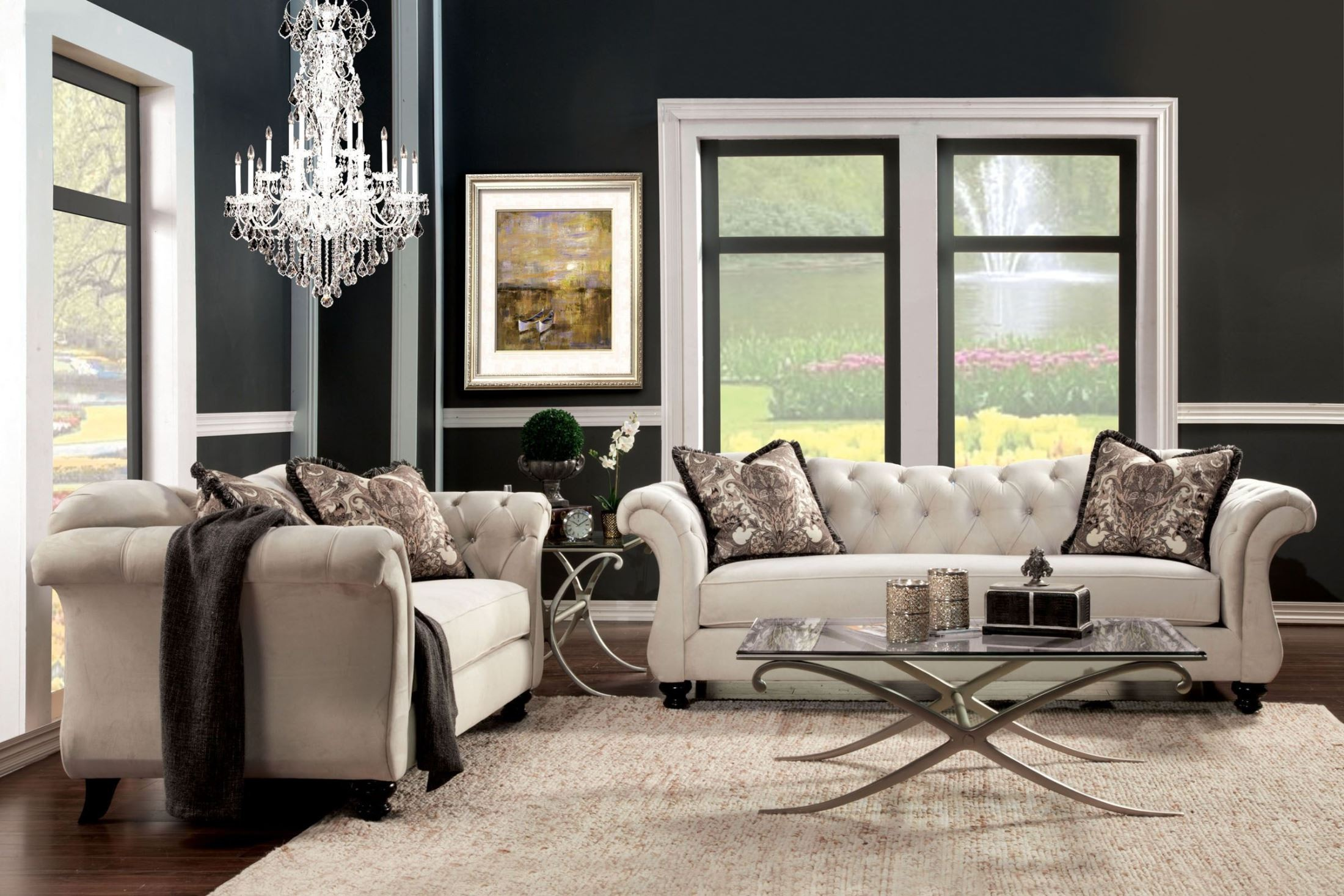 antoinette beige premium fabric living room set from furniture of america sm2221 sf coleman. Black Bedroom Furniture Sets. Home Design Ideas