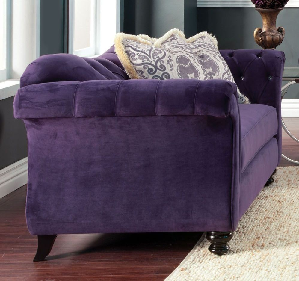 Antoinette Purple Premium Fabric Loveseat From Furniture Of America Sm2222 Lv Coleman Furniture