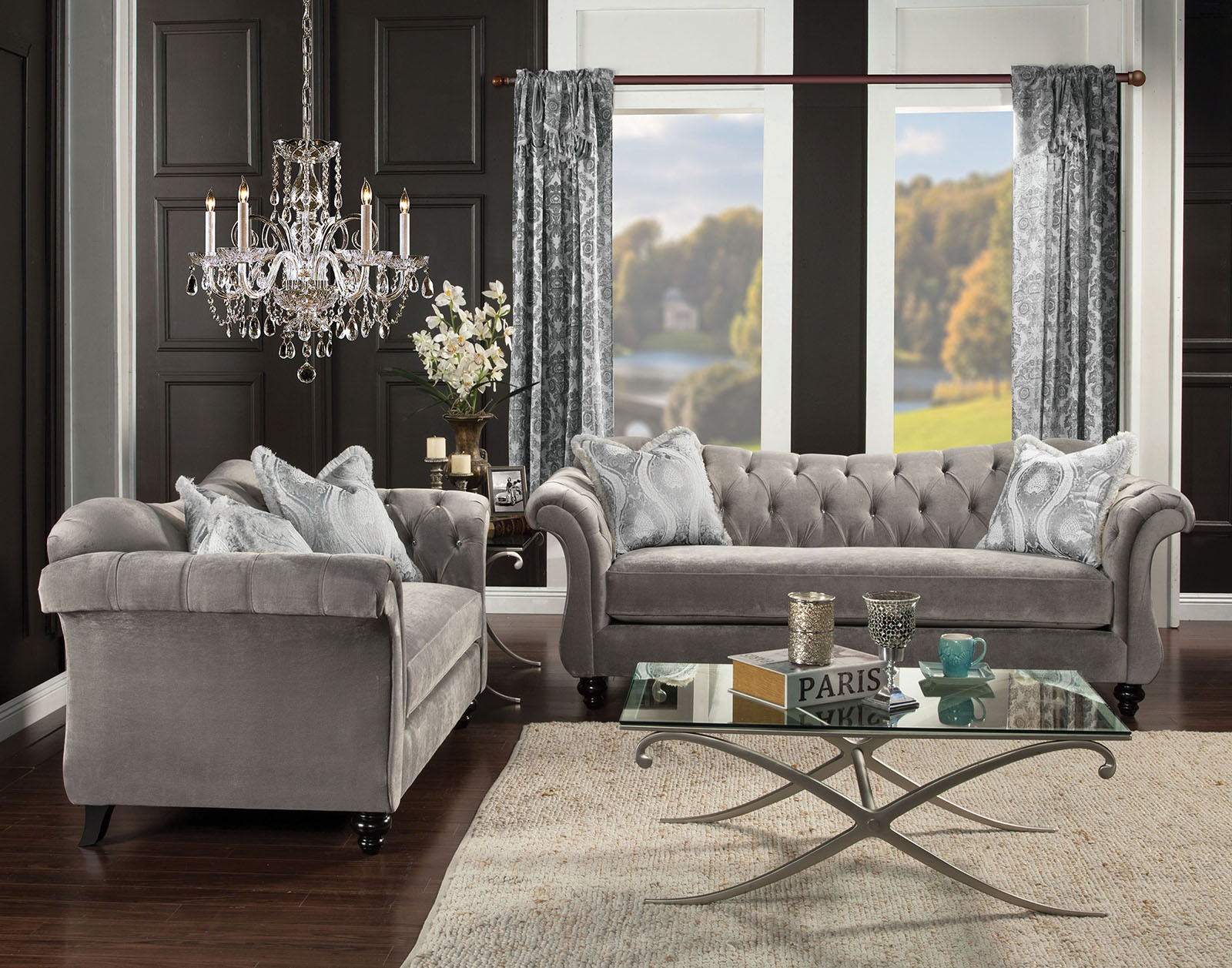 Antoinette Dolphin Gray Living Room Set From Furniture Of