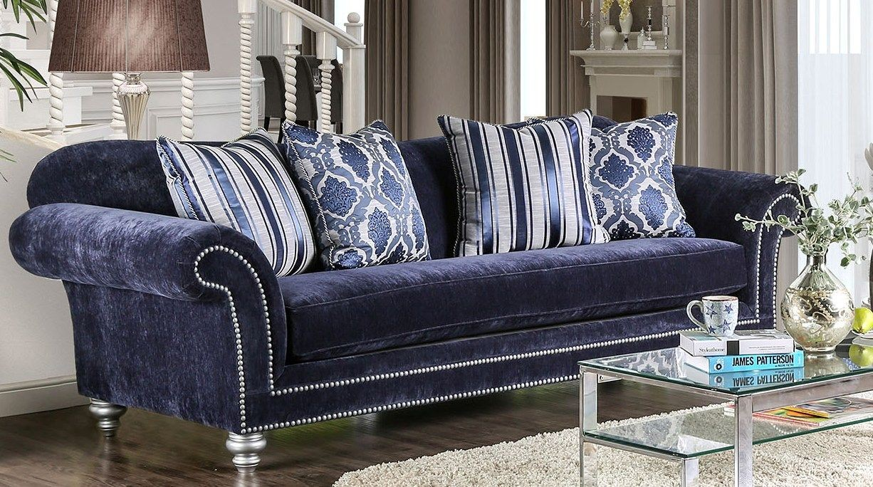 Safiya Navy Sofa From Furniture Of America Coleman Furniture