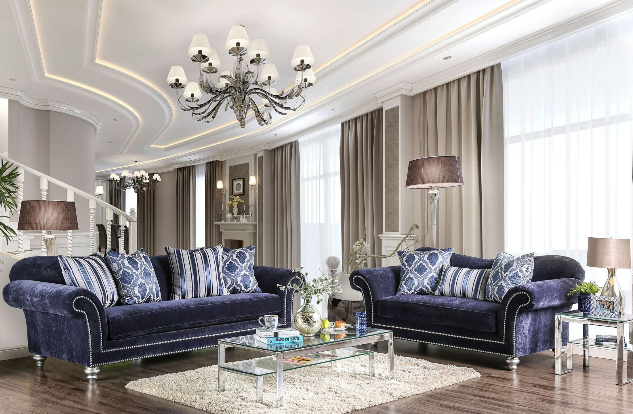 Safiya Navy Living Room Set from Furniture of America ...