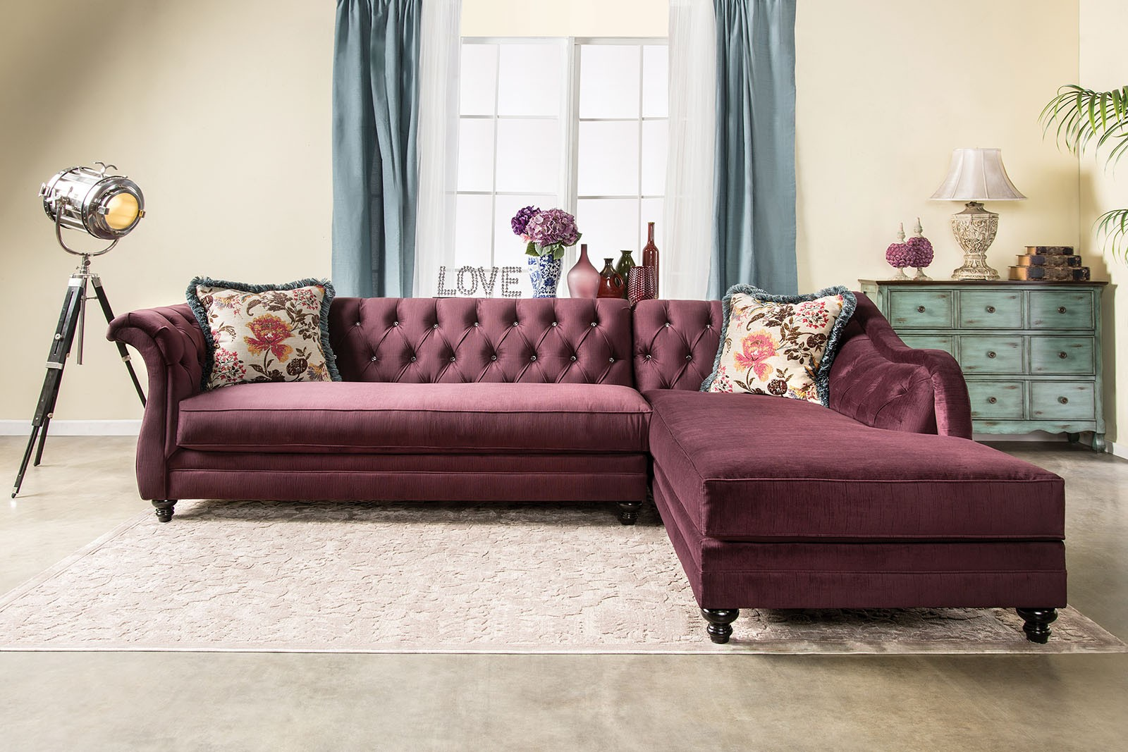 Rotterdam Plum Sectional Sm2262 Furniture Of America