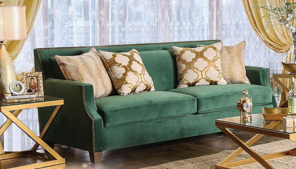 Verdante Emerald Green Sofa Sm2271 Sf Furniture Of America