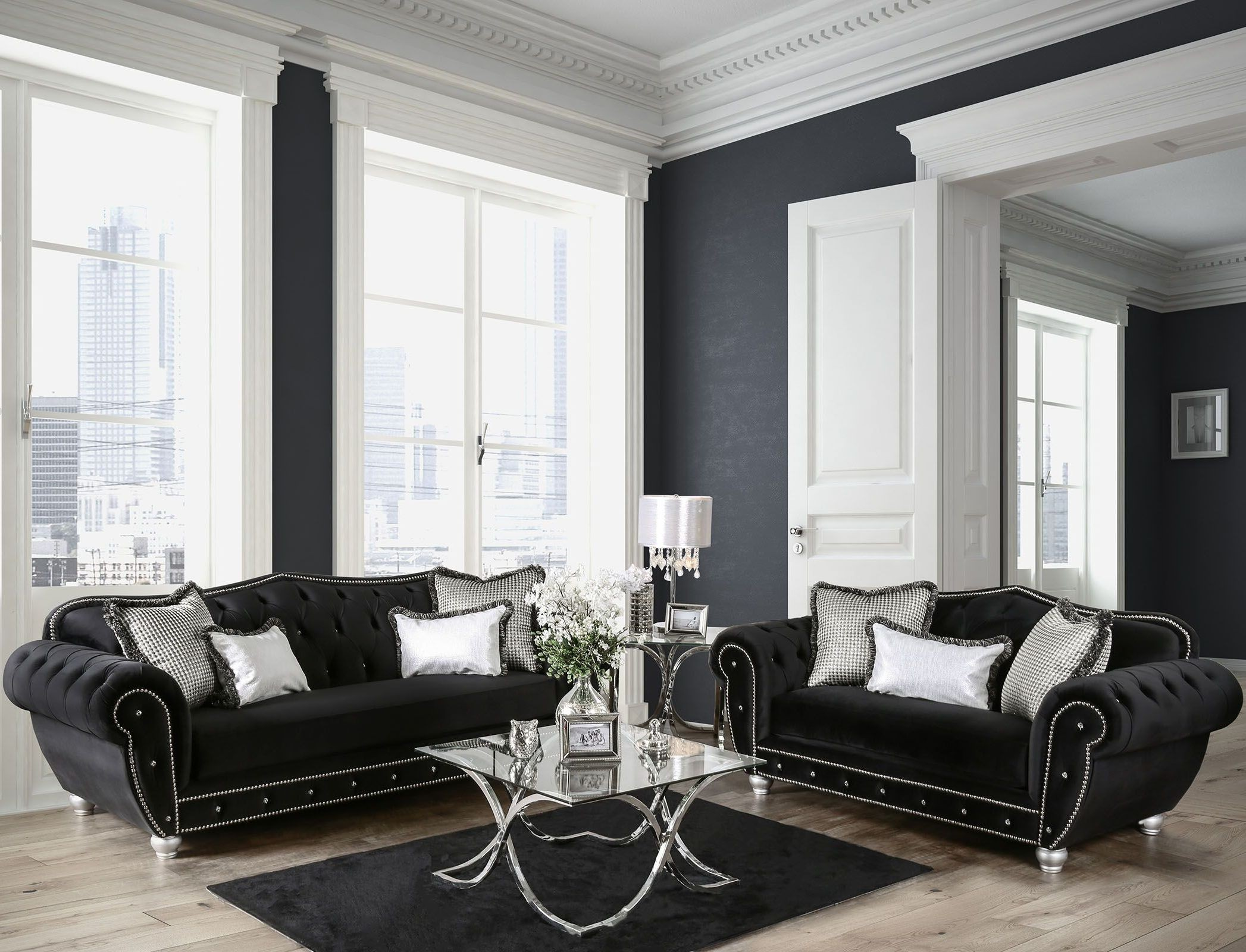 Negrini black upholstered living room set from furniture for Black front room furniture