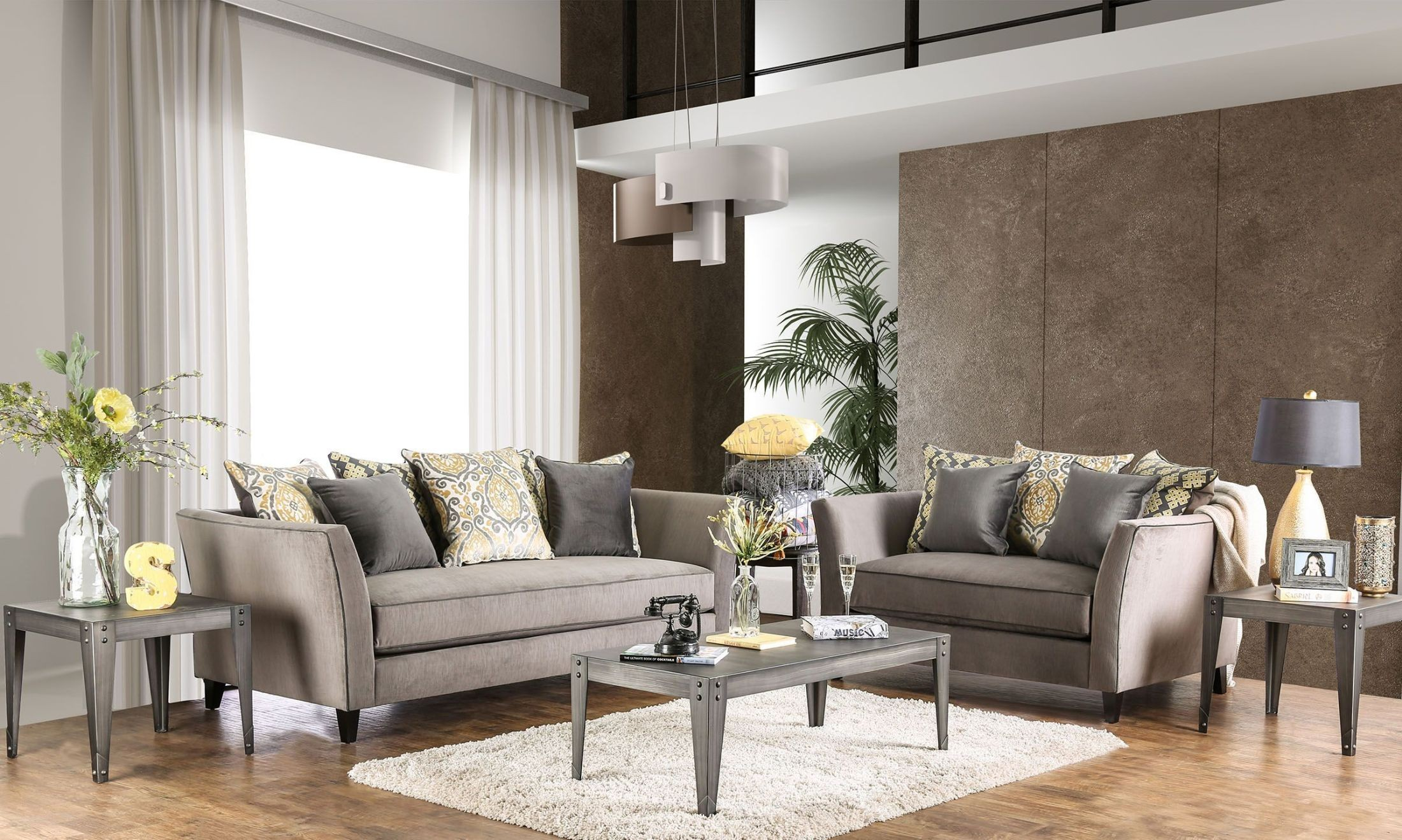 Chantal grey living room set from furniture of america for Grey front room furniture