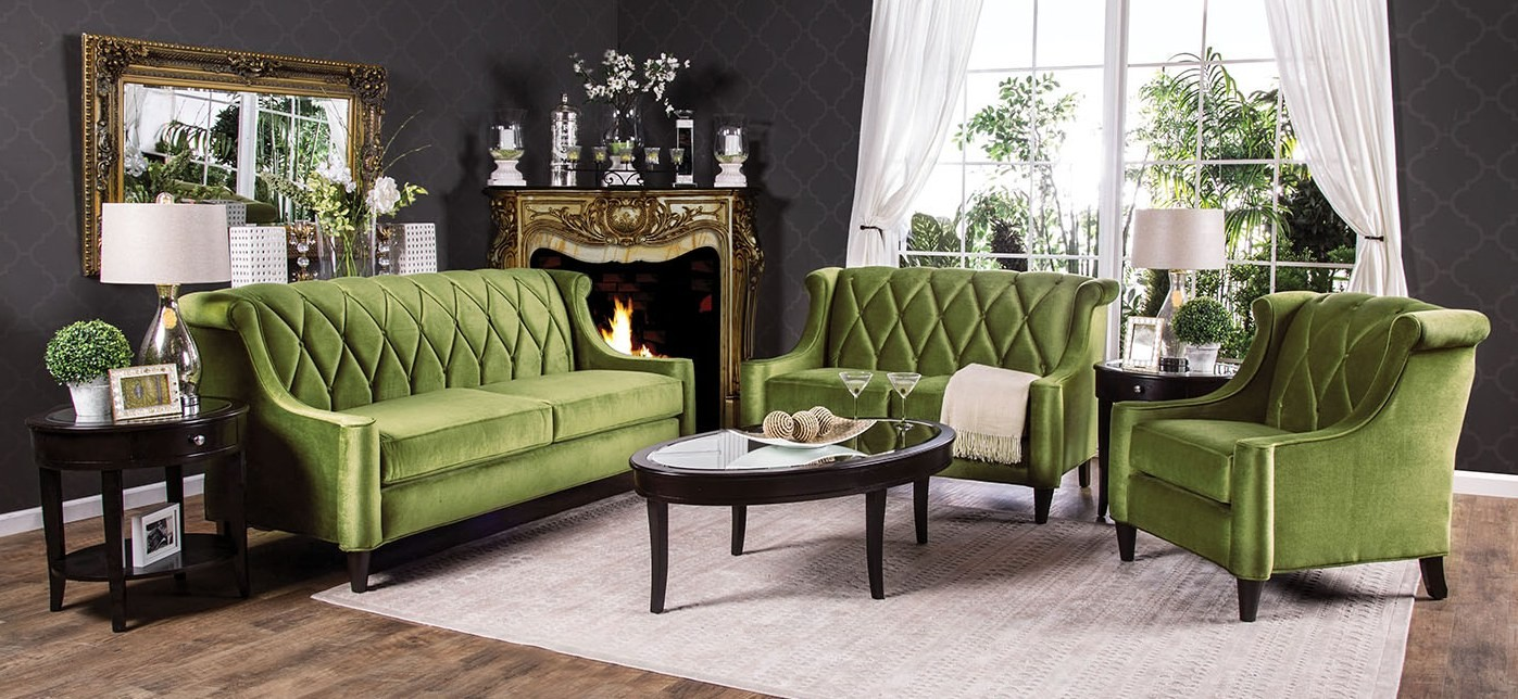 These 6 Pieces Of Colorful Furniture Are Absolute Must Haves: Limerick Green Living Room Set From Furniture Of America