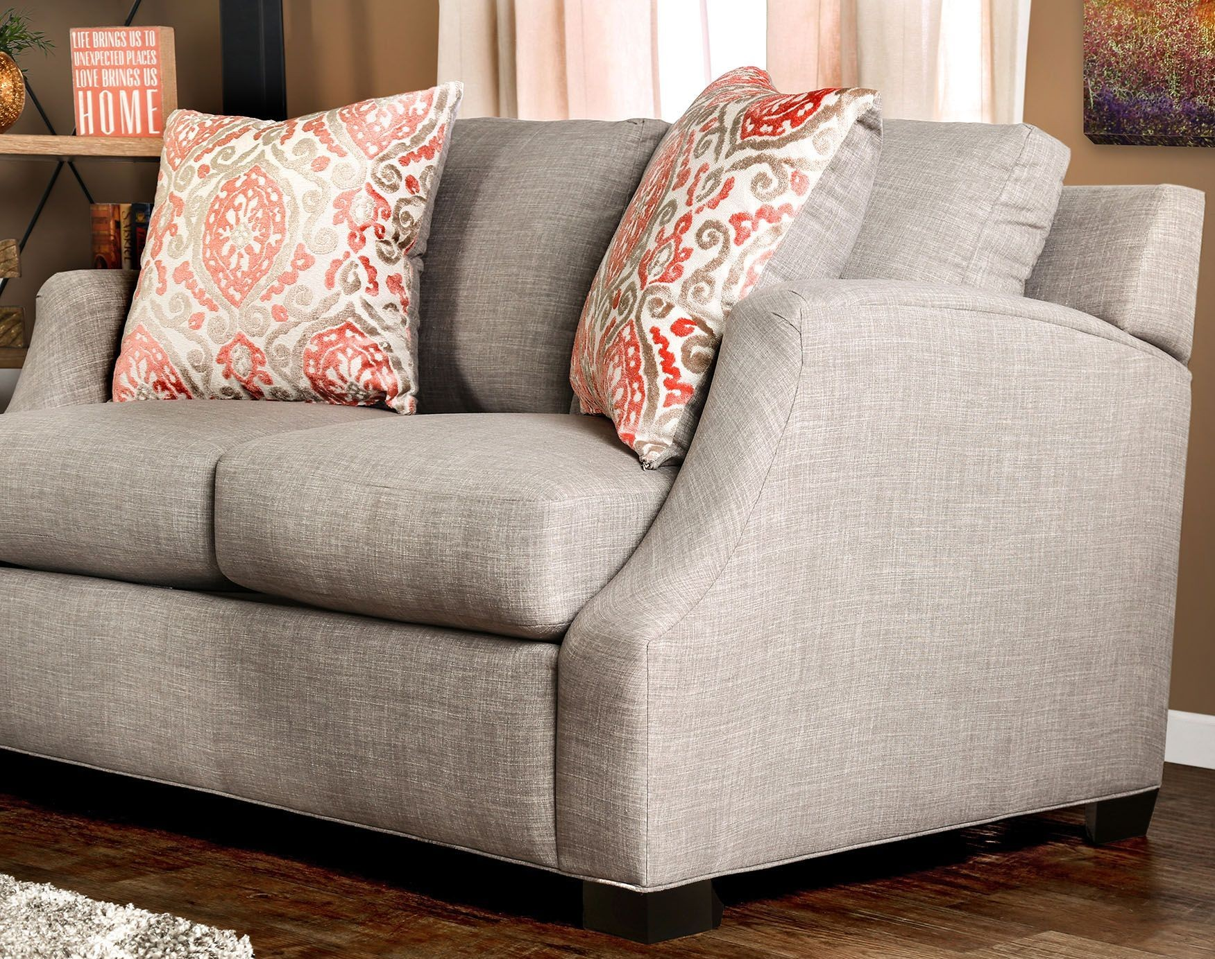 Beltran Orange and Light Gray Living Room Set from Furniture of