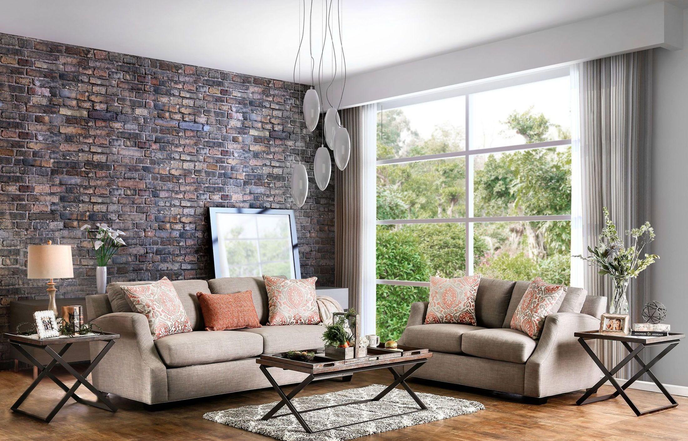 Beltran orange and light gray living room set from - Grey and orange living room ...