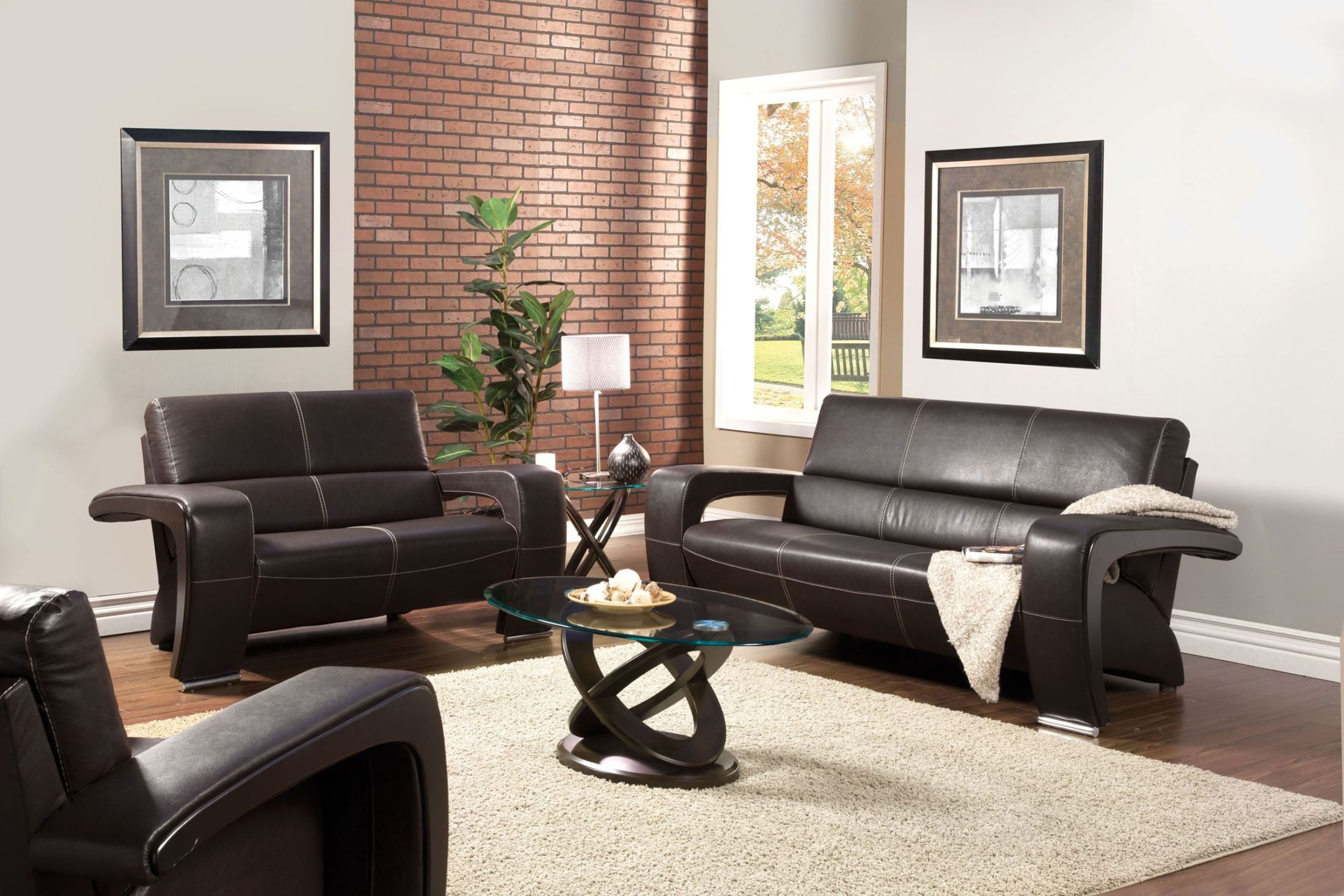 Enez Espresso Leatherette Living Room Set From Furniture
